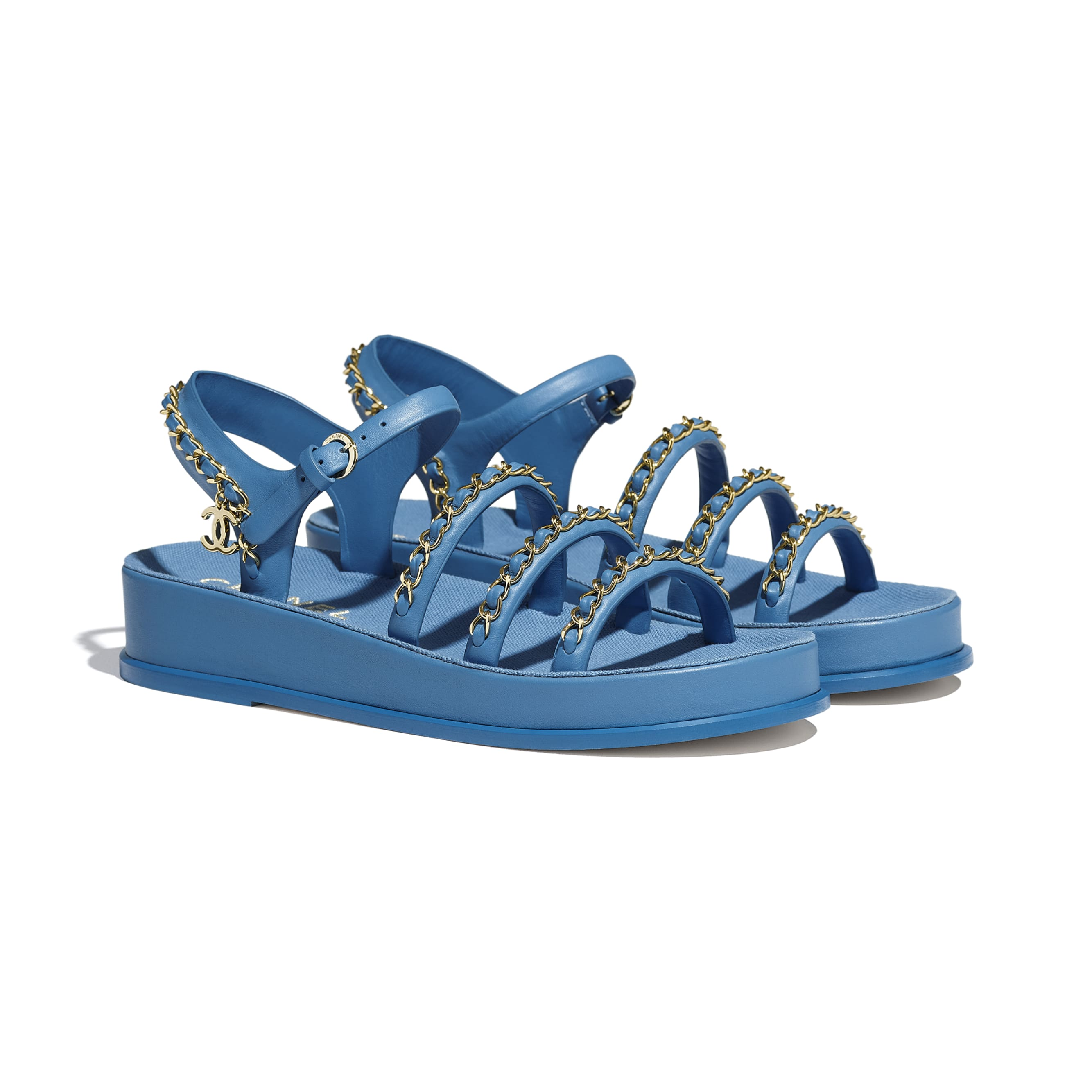 Sandals - Blue - Calfskin - CHANEL - Alternative view - see standard sized version