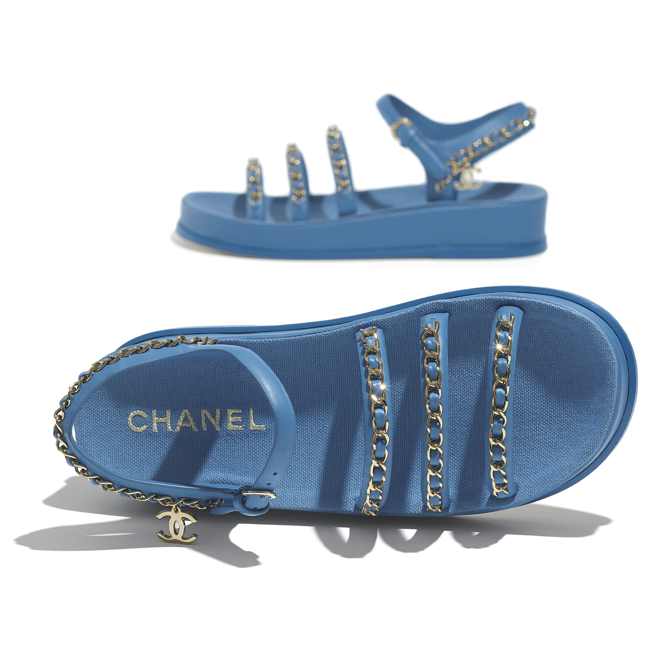 Sandals - Blue - Calfskin - CHANEL - Extra view - see standard sized version