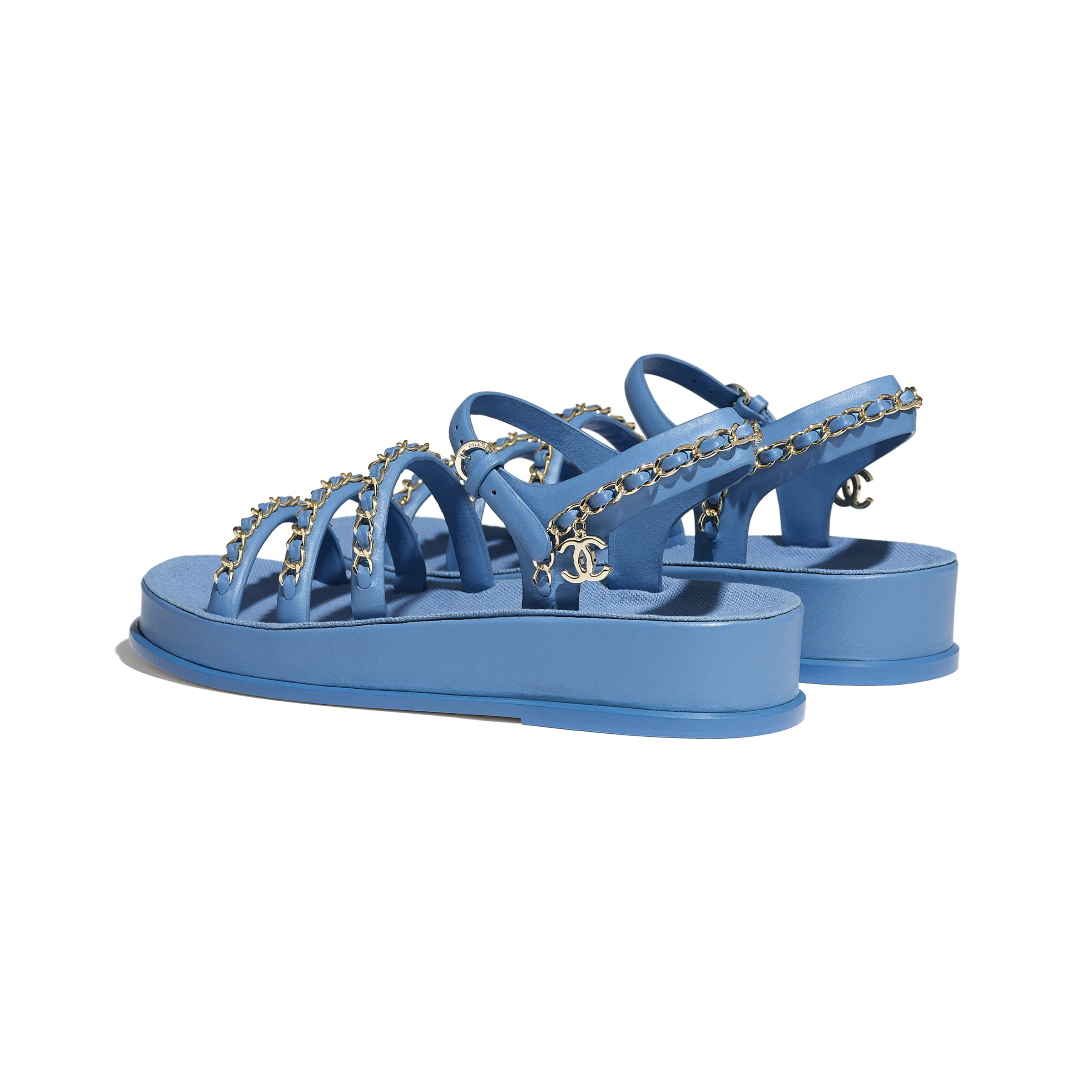 Sandals - Blue - Calfskin - CHANEL - Other view - see standard sized version