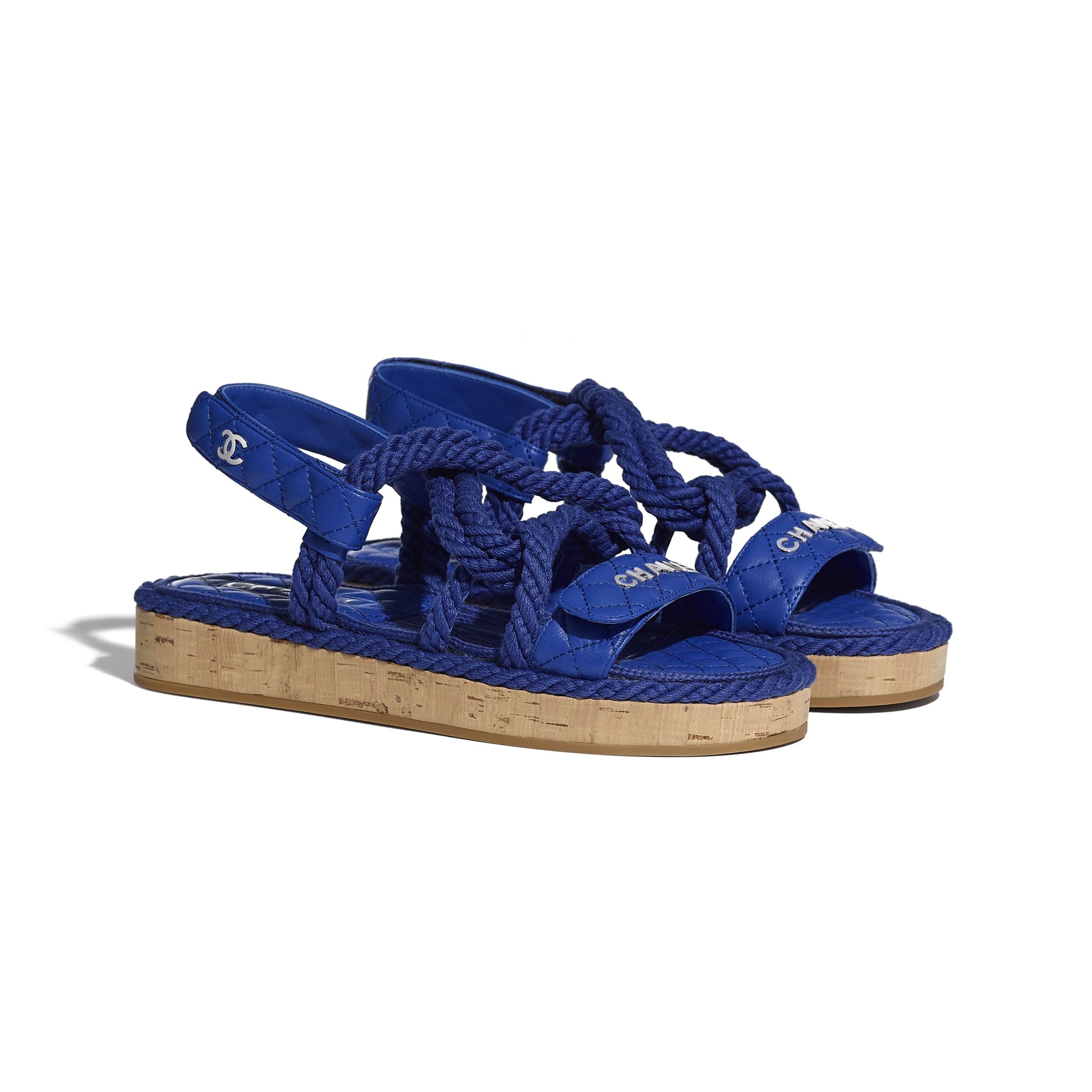Sandals - Blue - Cord & Lambskin - CHANEL - Alternative view - see standard sized version