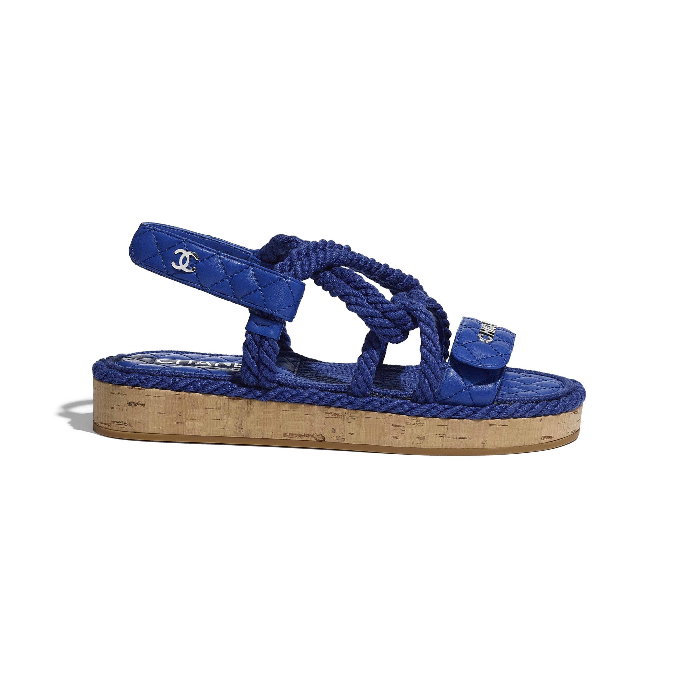 Sandals - Blue - Cord & Lambskin - CHANEL - Default view - see standard sized version