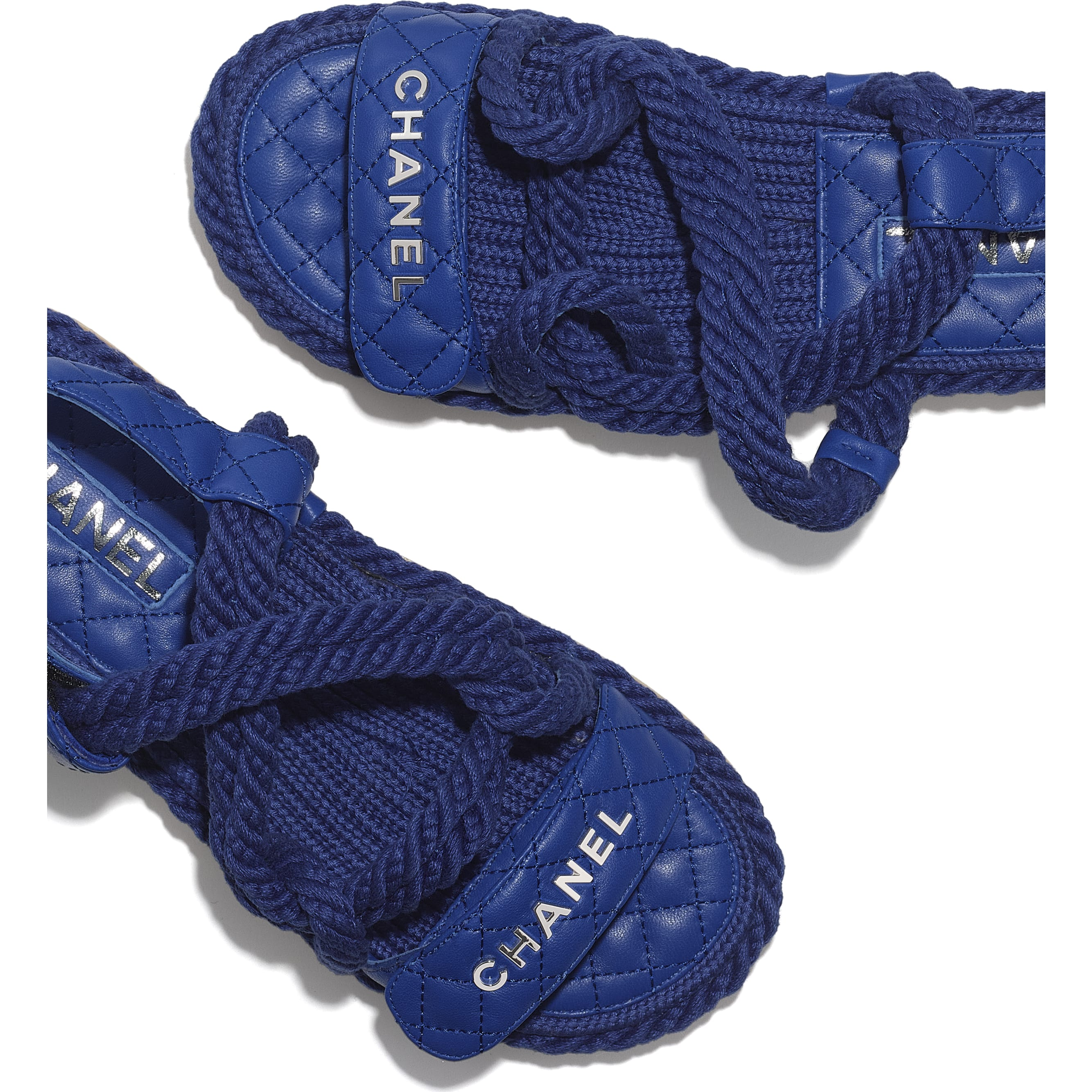 Sandals - Blue - Cord & Lambskin - CHANEL - Extra view - see standard sized version
