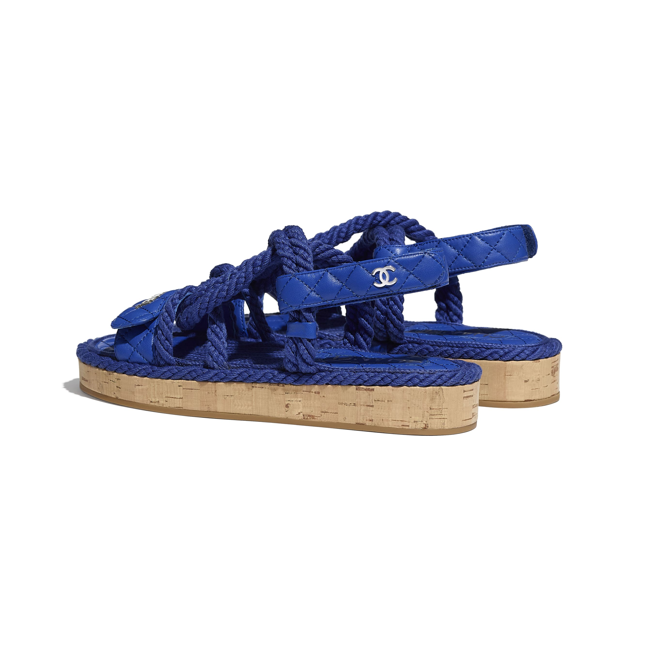 Sandals - Blue - Cord & Lambskin - CHANEL - Other view - see standard sized version