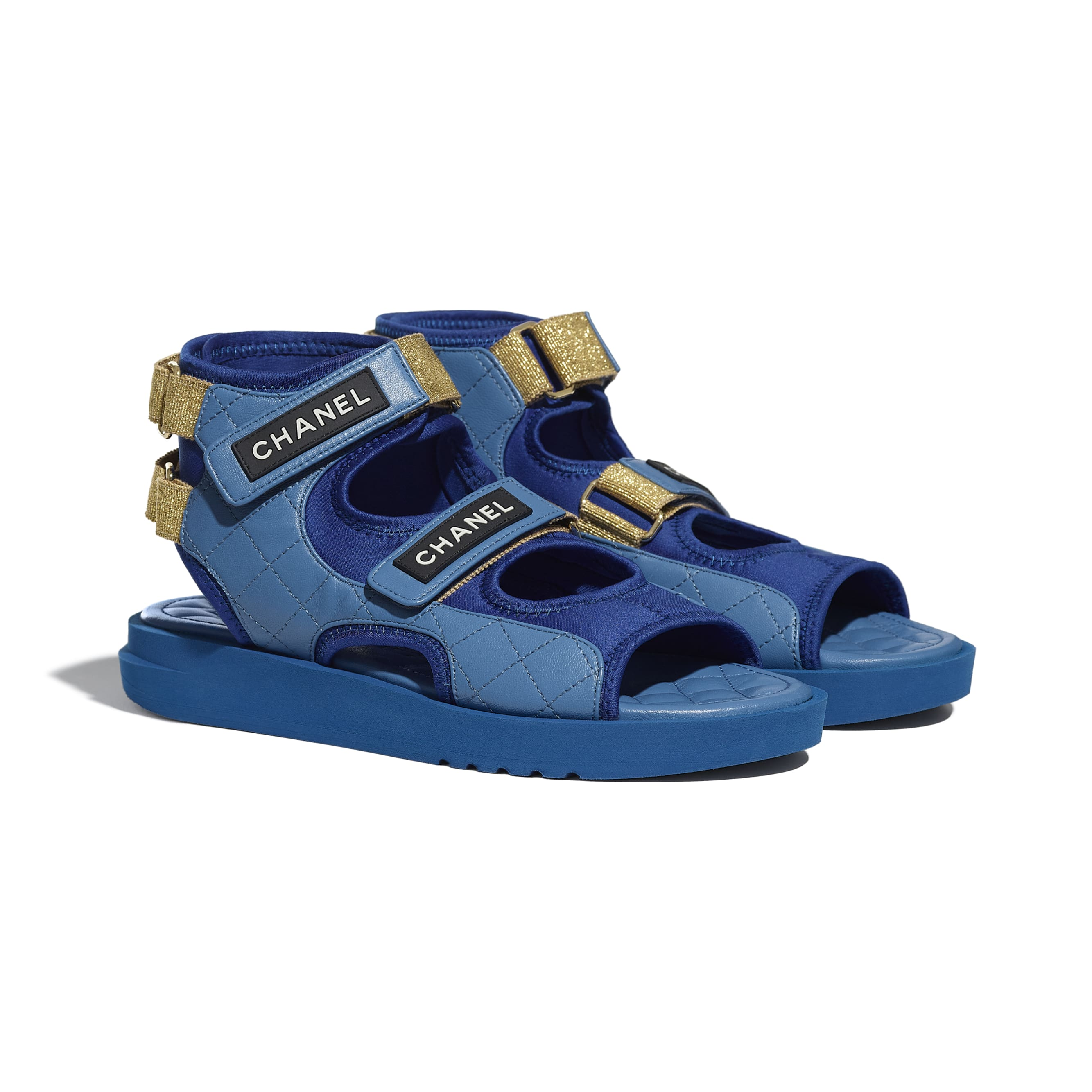 Sandals - Blue, Dark Blue & Black - Goatskin, Fabric & TPU - CHANEL - Alternative view - see standard sized version