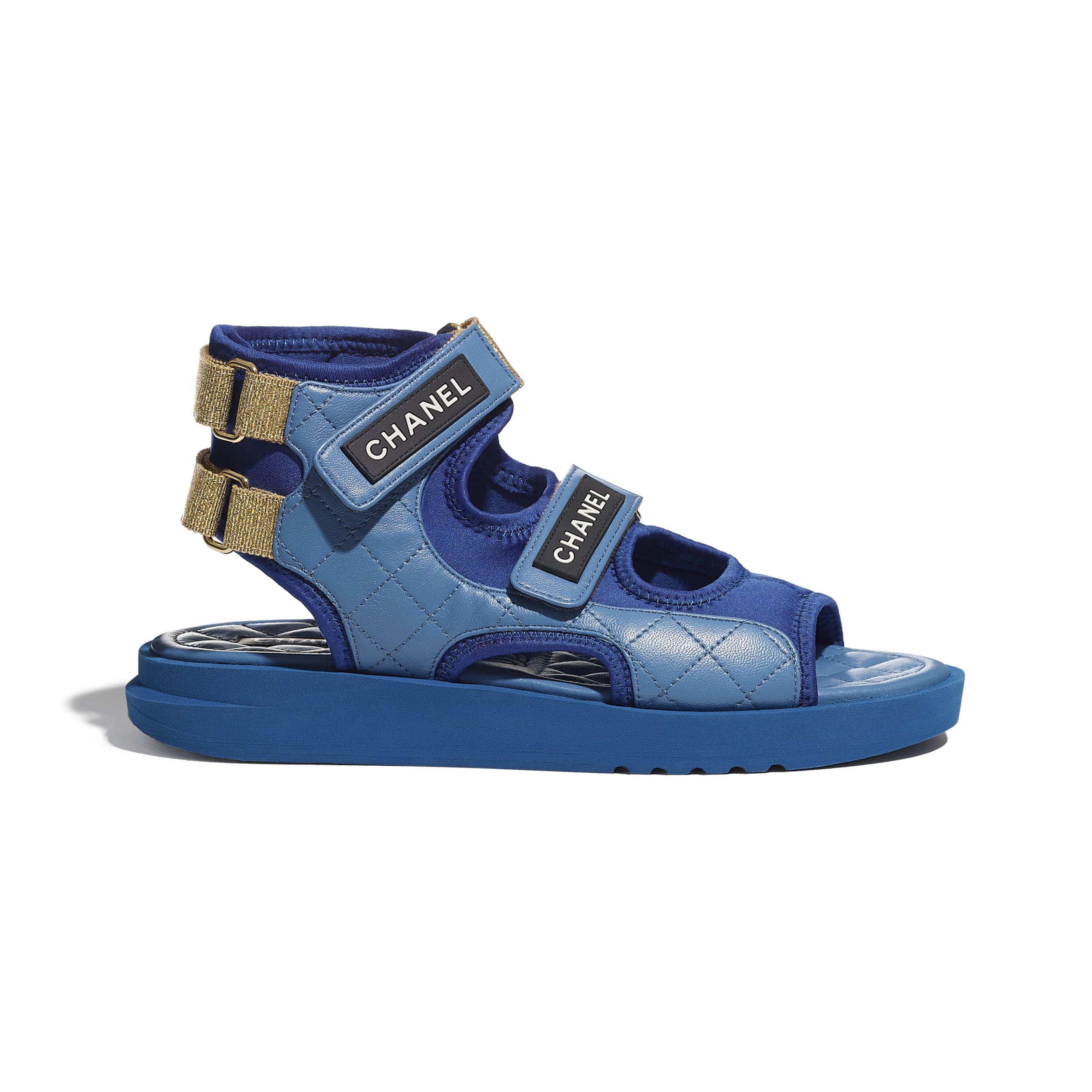 Sandals - Blue, Dark Blue & Black - Goatskin, Fabric & TPU - CHANEL - Default view - see standard sized version