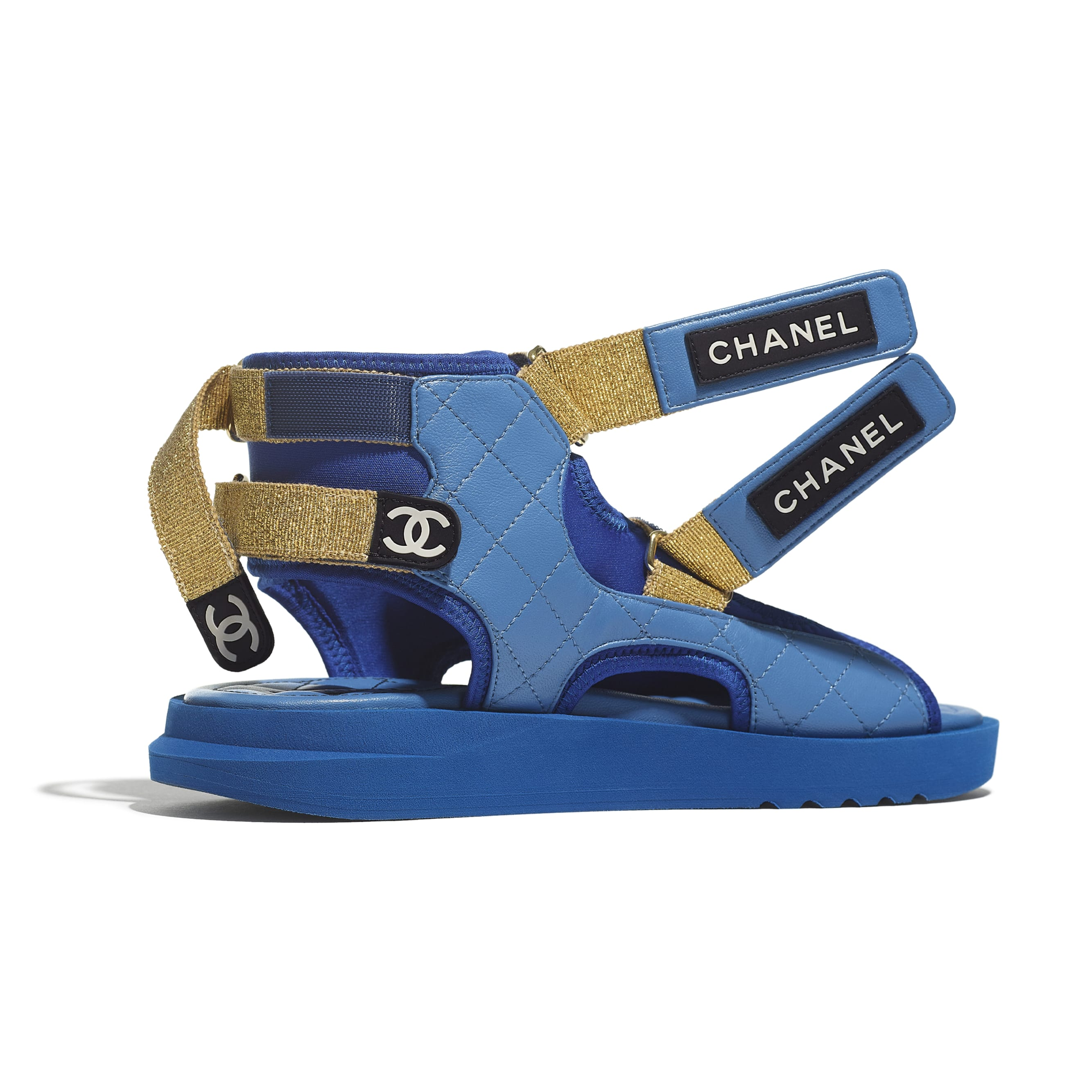 Sandals - Blue, Dark Blue & Black - Goatskin, Fabric & TPU - CHANEL - Extra view - see standard sized version