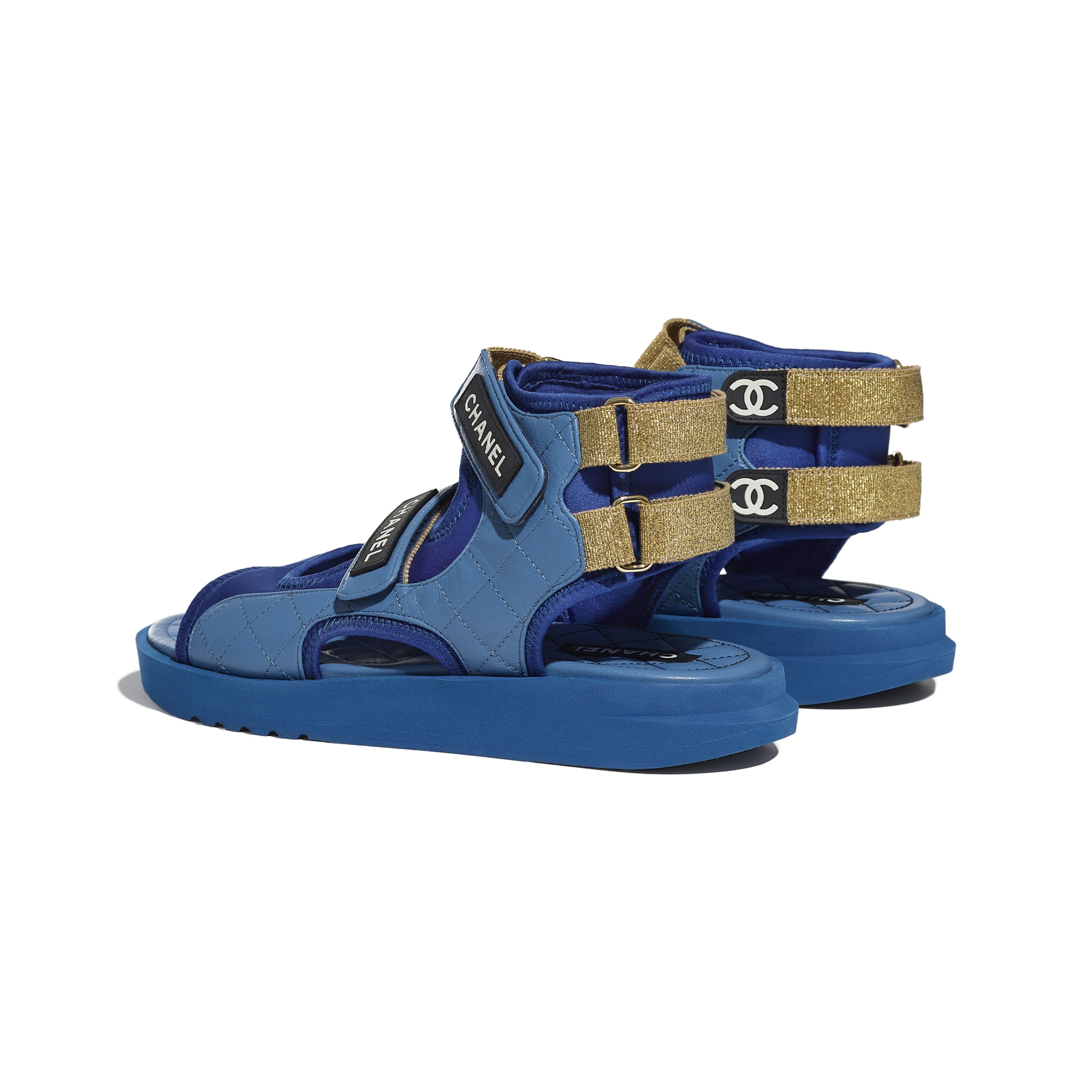 Sandals - Blue, Dark Blue & Black - Goatskin, Fabric & TPU - CHANEL - Other view - see standard sized version
