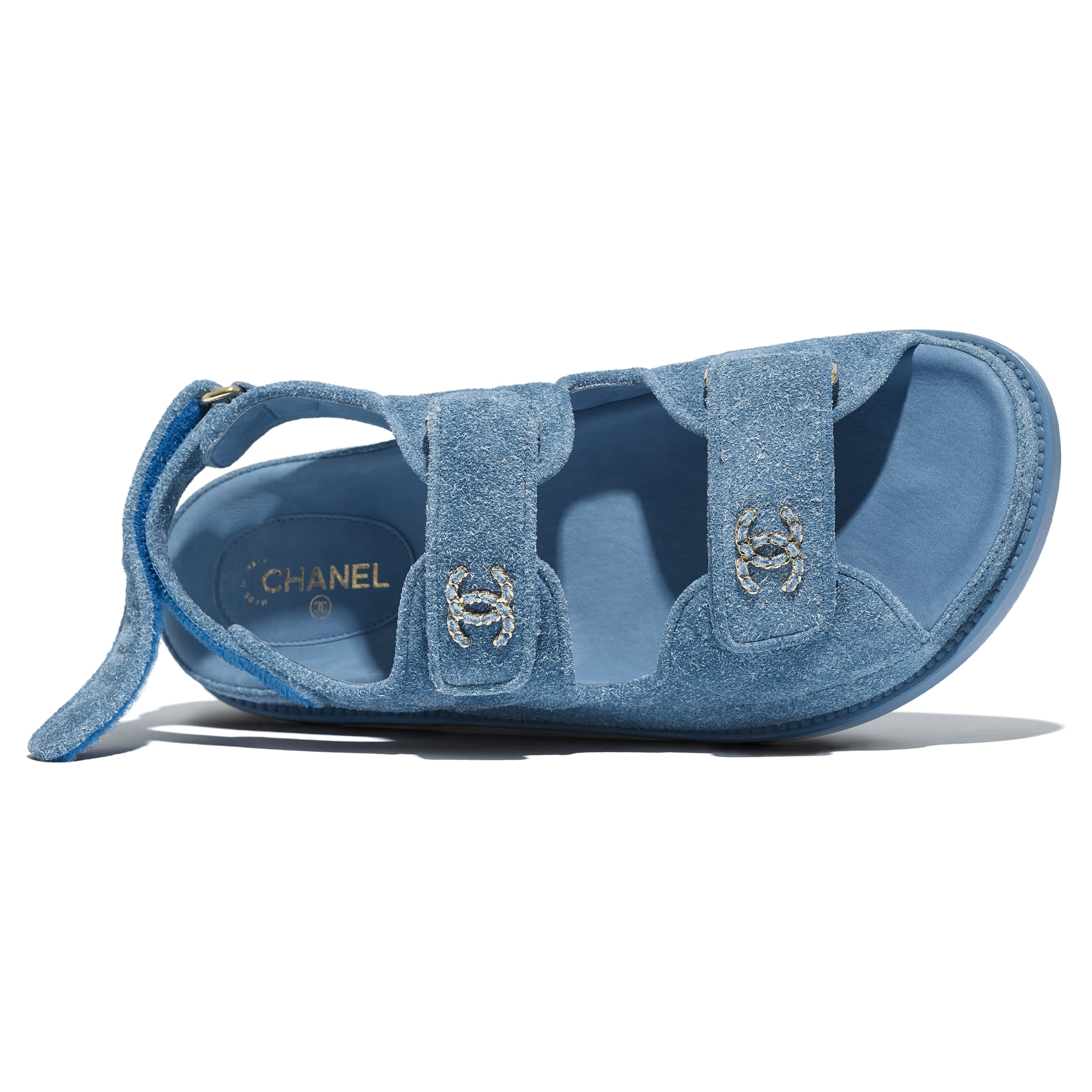 Sandals - Blue - Suede Calfskin - CHANEL - Extra view - see standard sized version