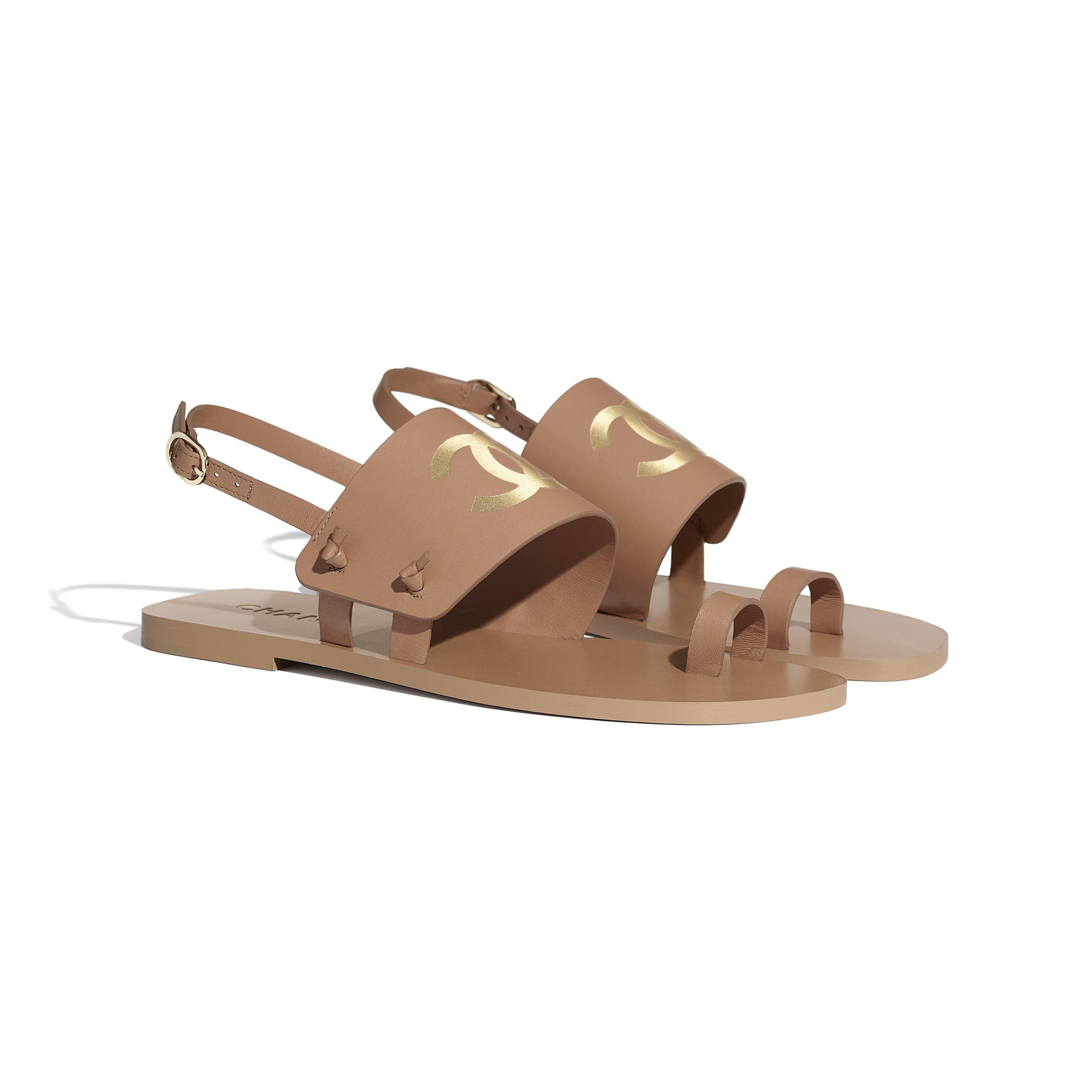 Sandals - Brown - Goatskin - CHANEL - Alternative view - see standard sized version