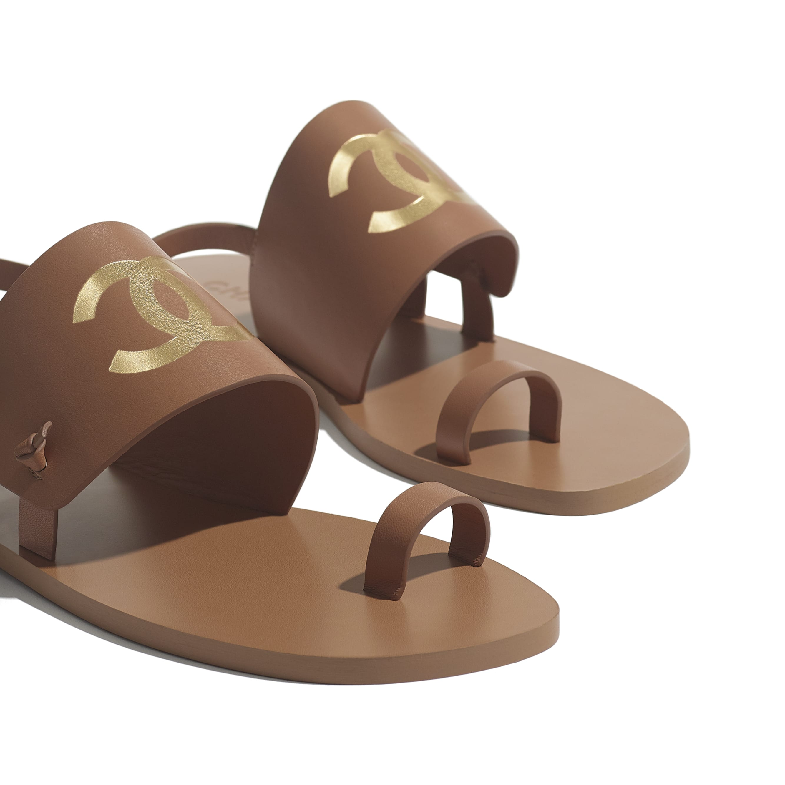 Sandals - Brown - Goatskin - CHANEL - Extra view - see standard sized version