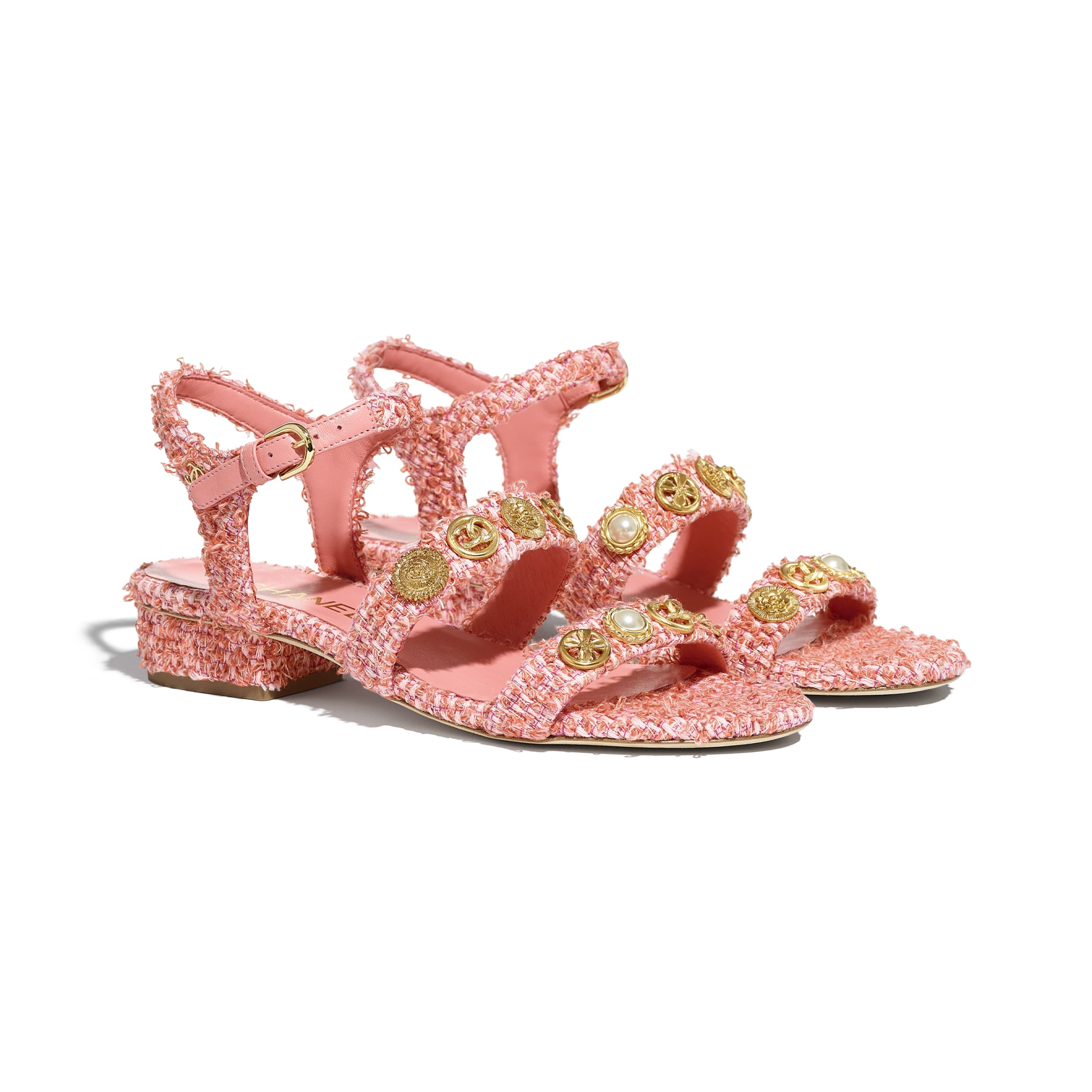 Sandals - Coral & Pink - Cotton Tweed & Jewellery - CHANEL - Alternative view - see standard sized version