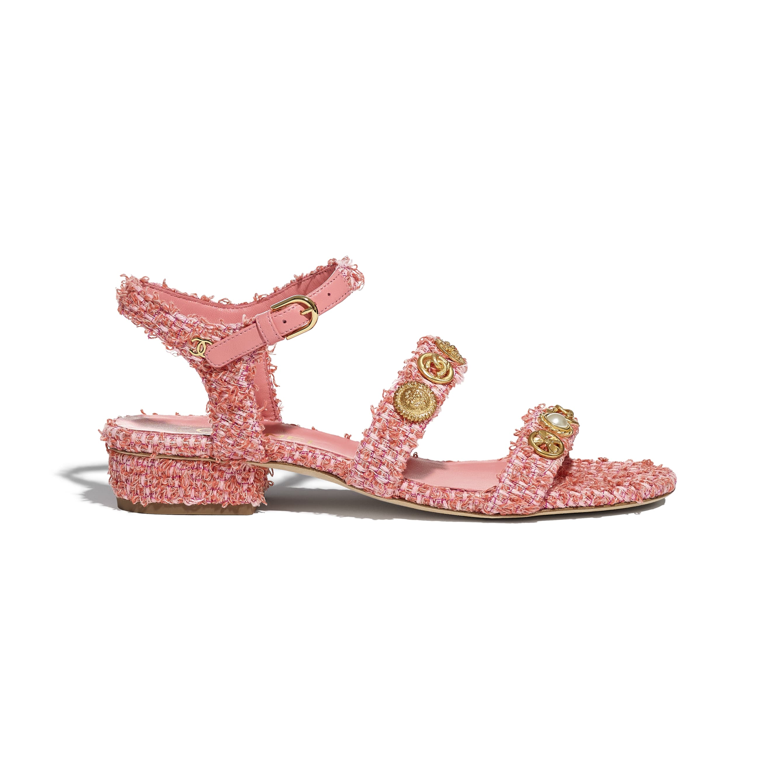 Sandals - Coral & Pink - Cotton Tweed & Jewellery - CHANEL - Default view - see standard sized version