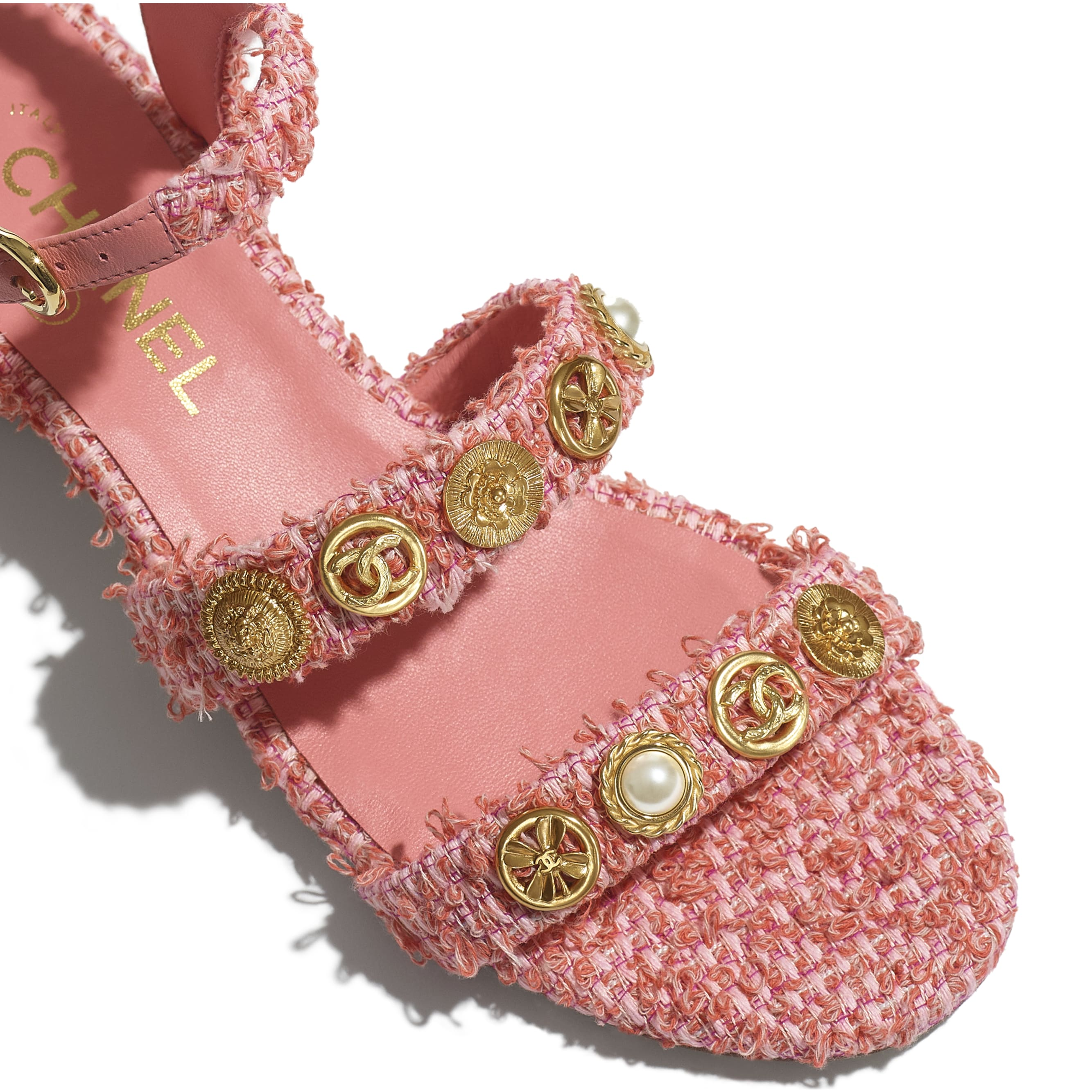 Sandals - Coral & Pink - Cotton Tweed & Jewellery - CHANEL - Extra view - see standard sized version