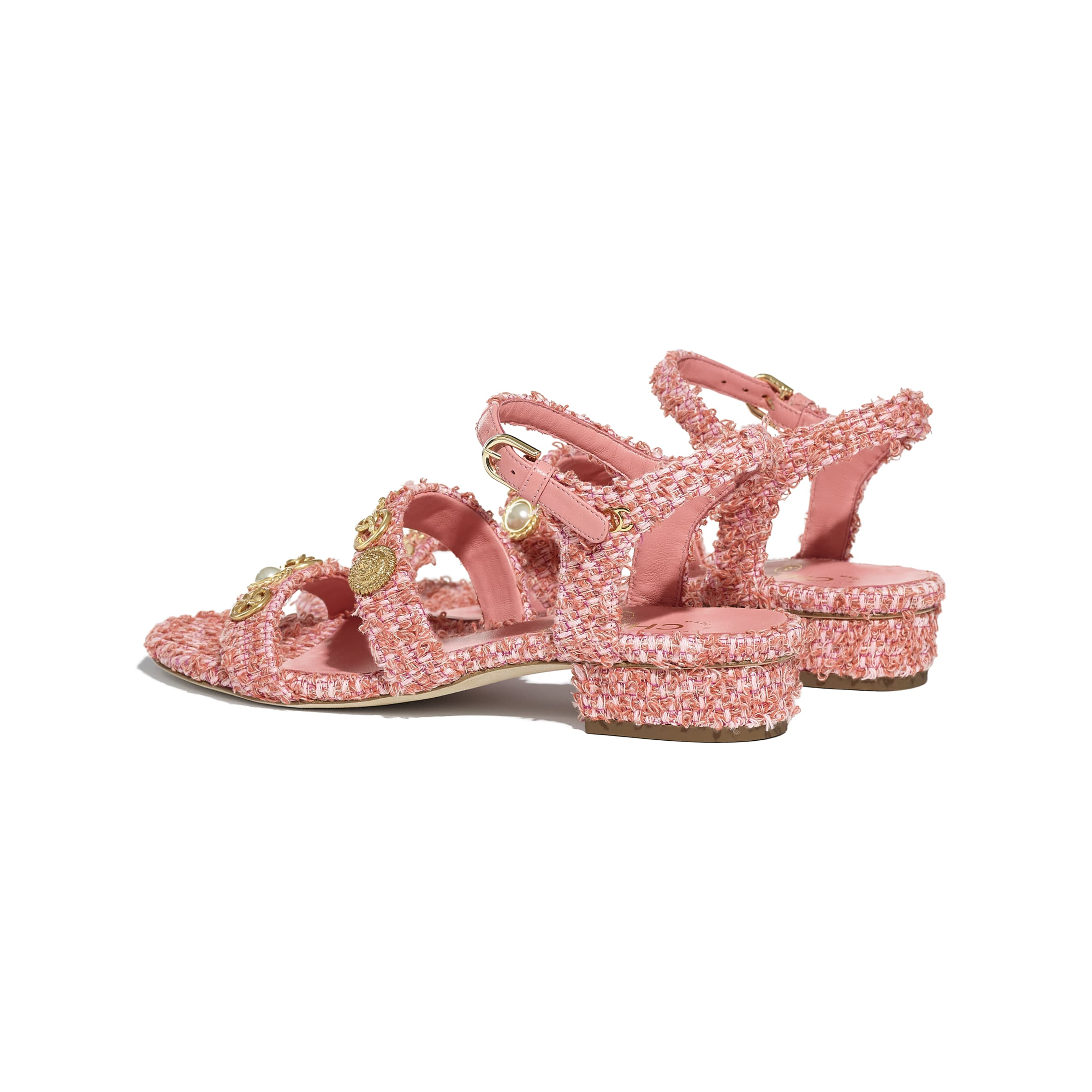 Sandals - Coral & Pink - Cotton Tweed & Jewellery - CHANEL - Other view - see standard sized version