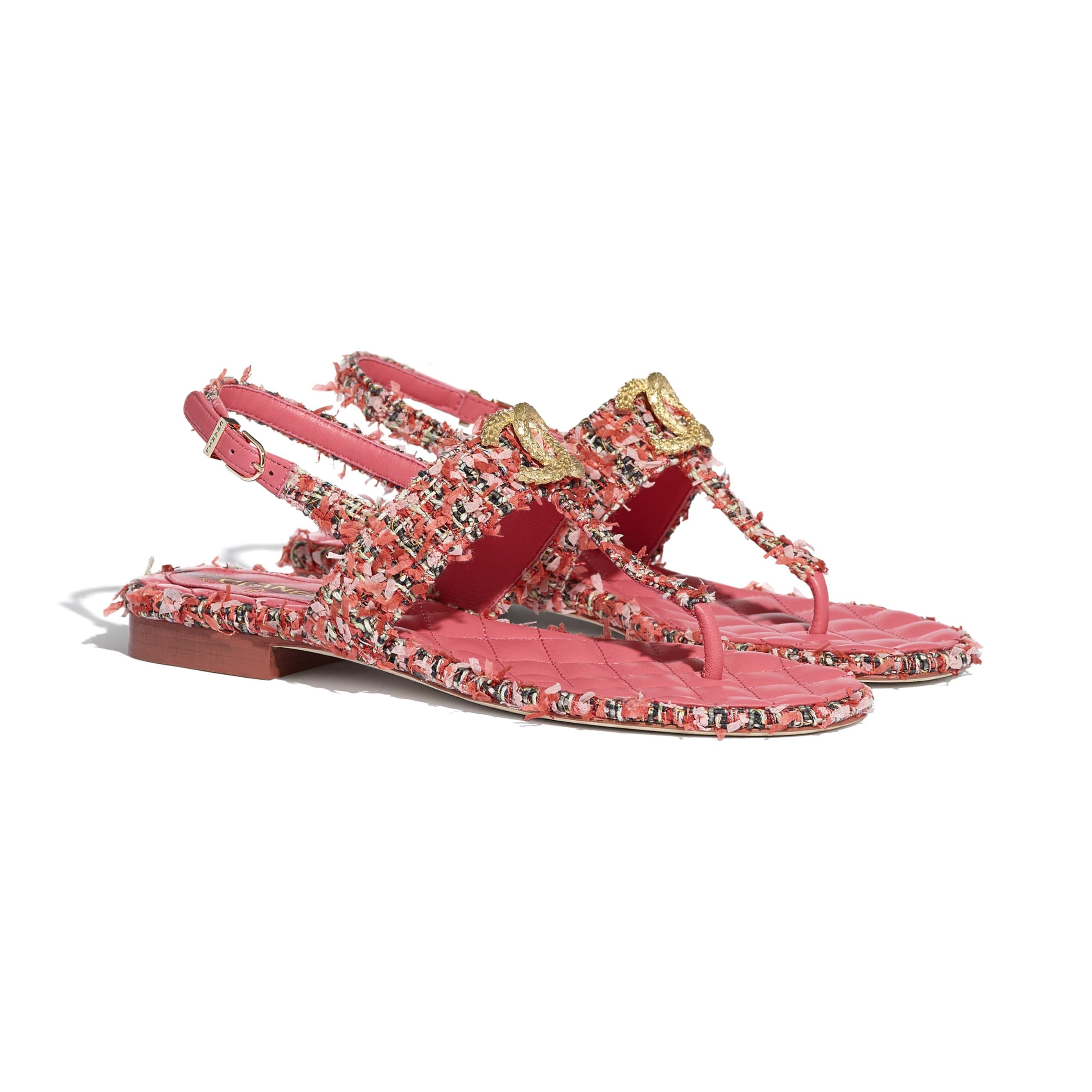 Sandals - Coral, Red & Pink - Tweed - CHANEL - Alternative view - see standard sized version