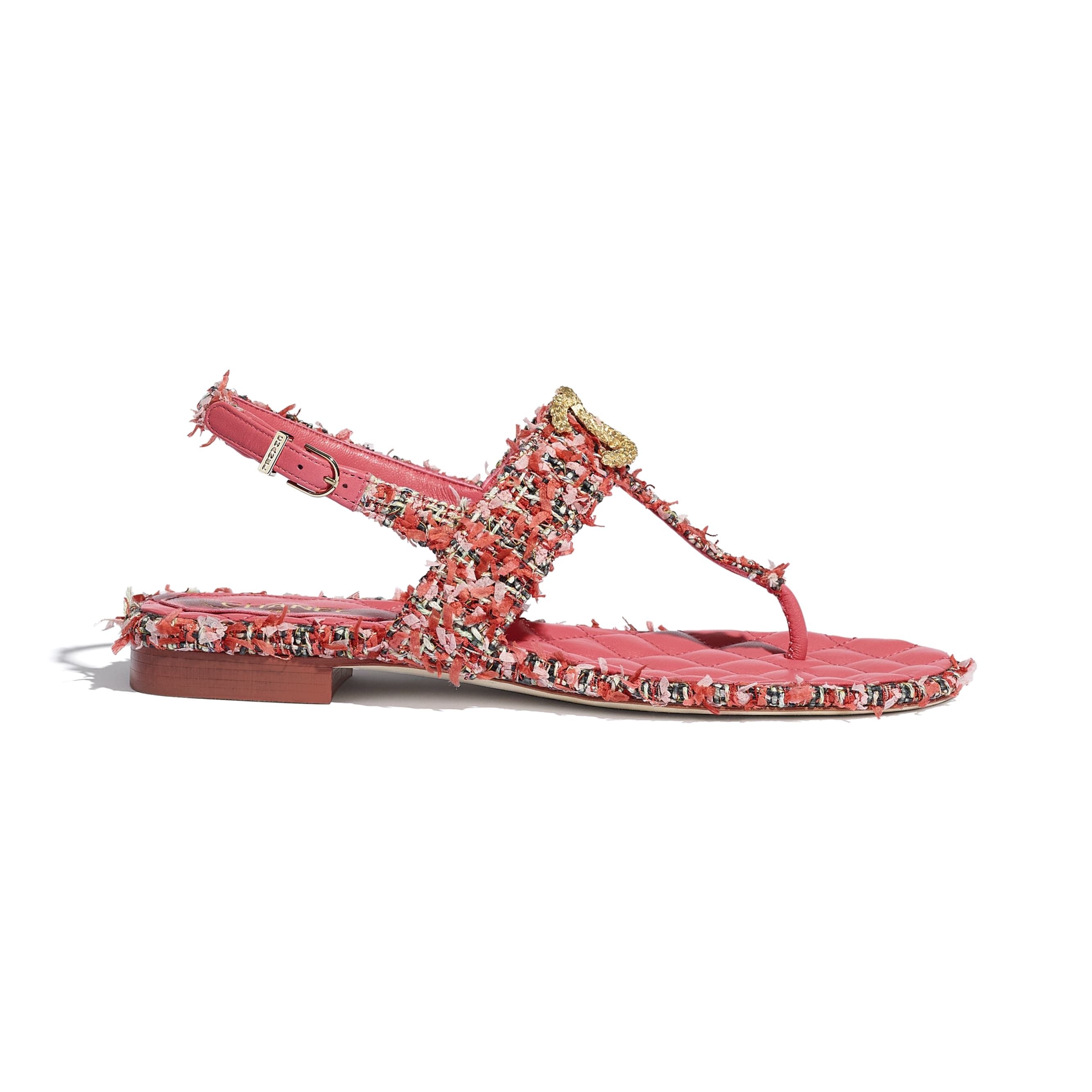 Sandals - Coral, Red & Pink - Tweed - CHANEL - Default view - see standard sized version