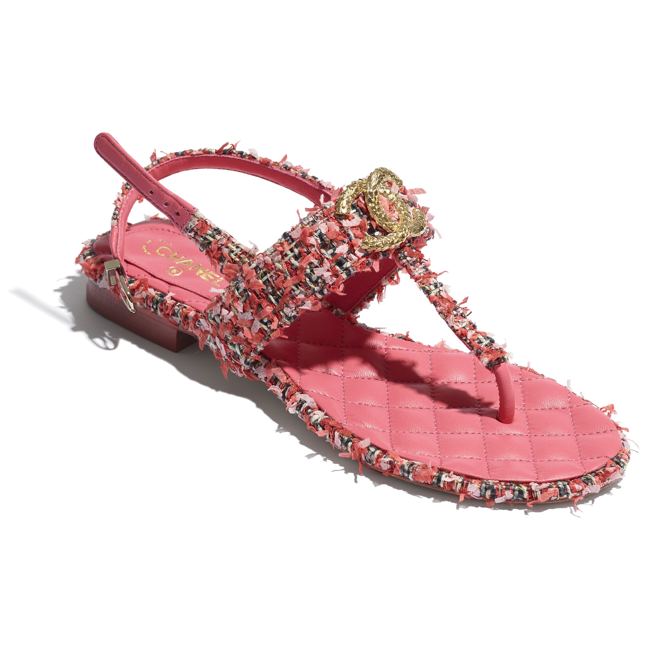 Sandals - Coral, Red & Pink - Tweed - CHANEL - Extra view - see standard sized version