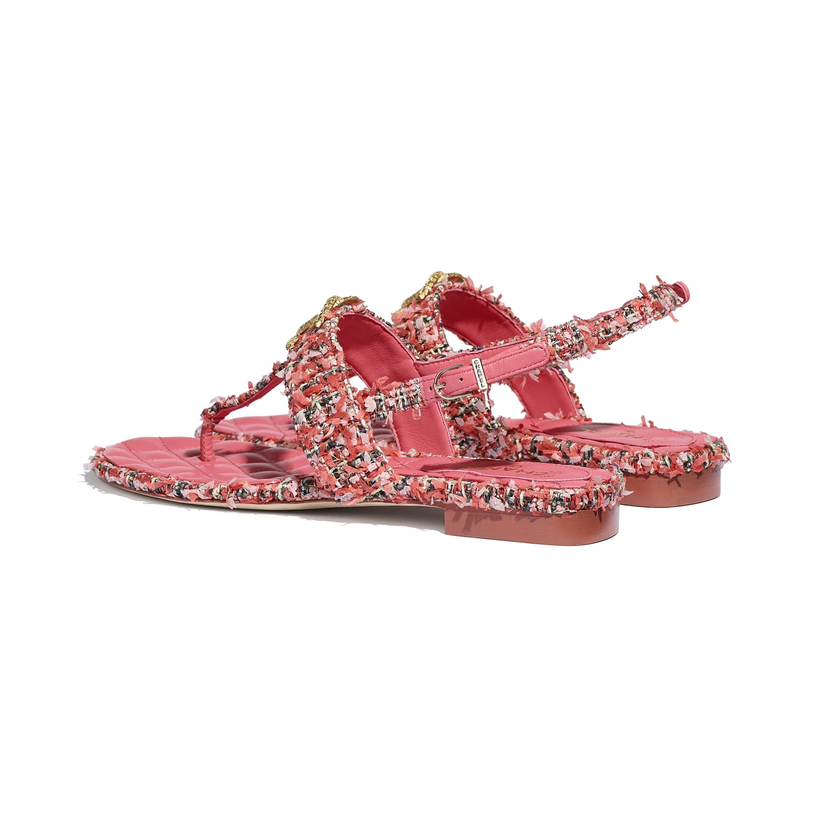 Sandals - Coral, Red & Pink - Tweed - CHANEL - Other view - see standard sized version
