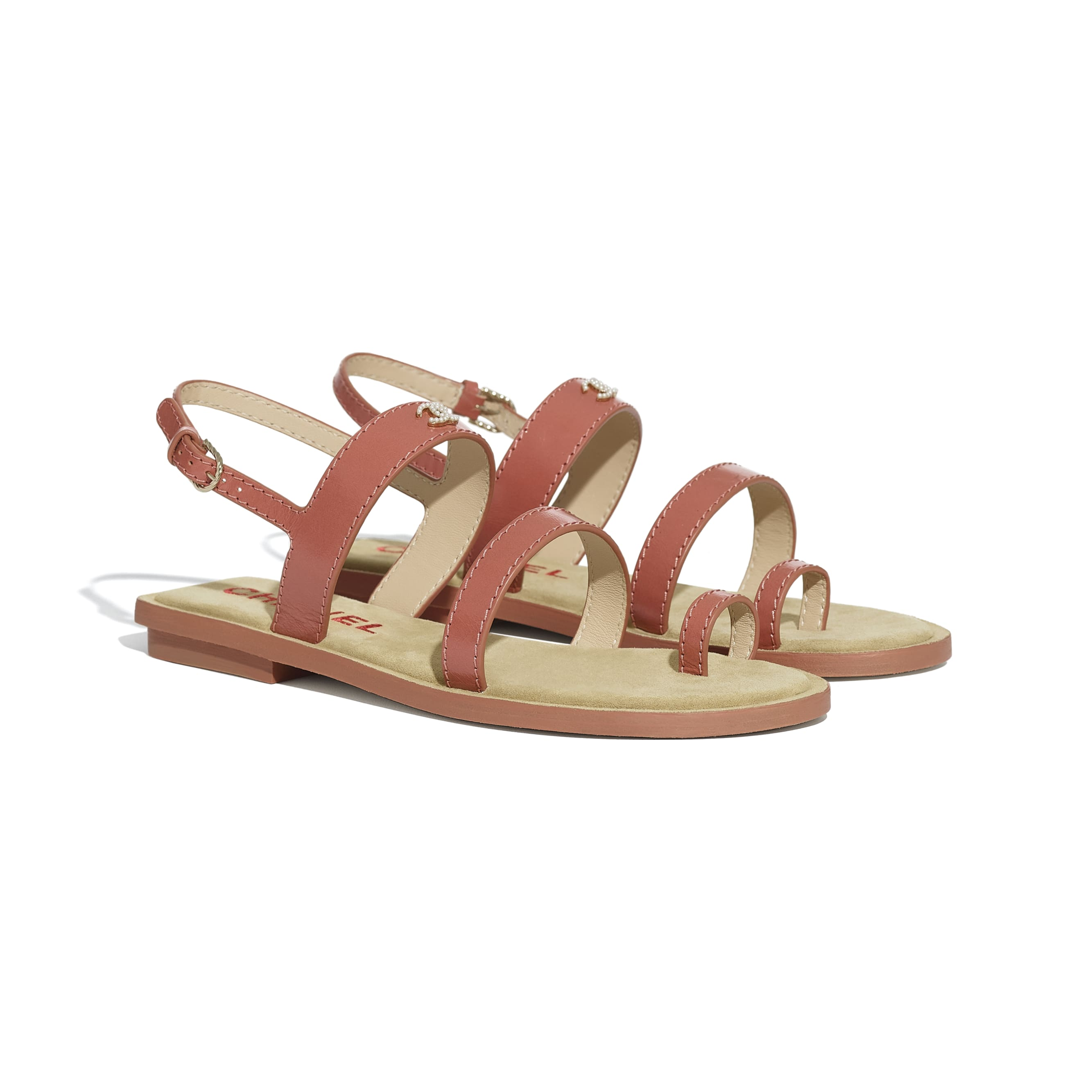 Sandals - Dark Pink - Shiny Calfskin - CHANEL - Alternative view - see standard sized version