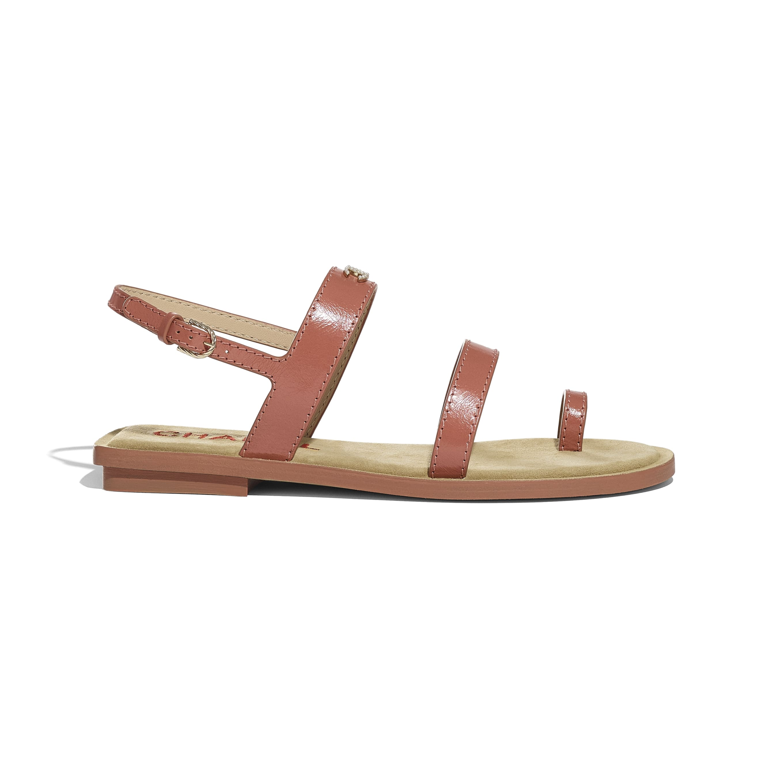 Sandals - Dark Pink - Shiny Calfskin - CHANEL - Default view - see standard sized version