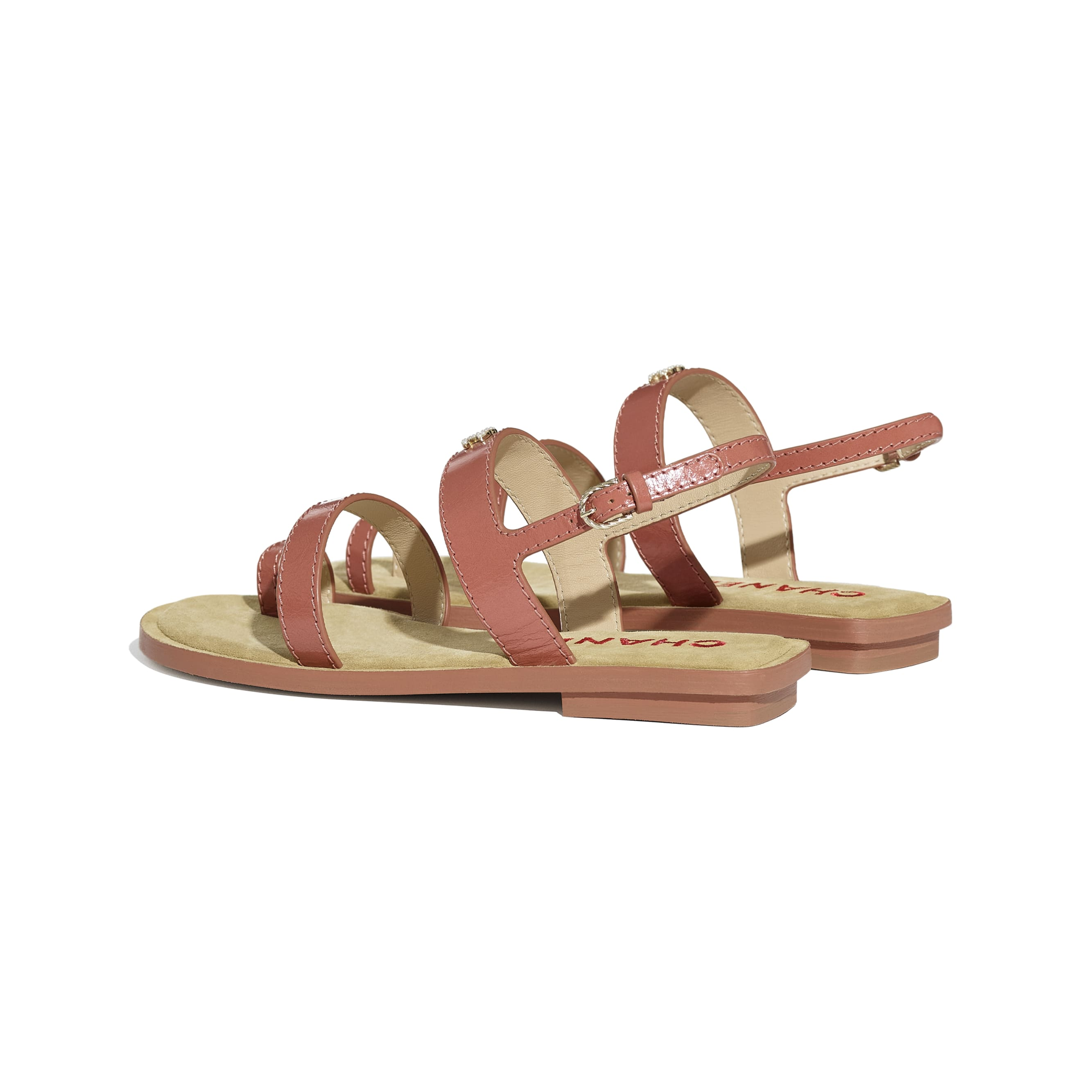 Sandals - Dark Pink - Shiny Calfskin - CHANEL - Other view - see standard sized version