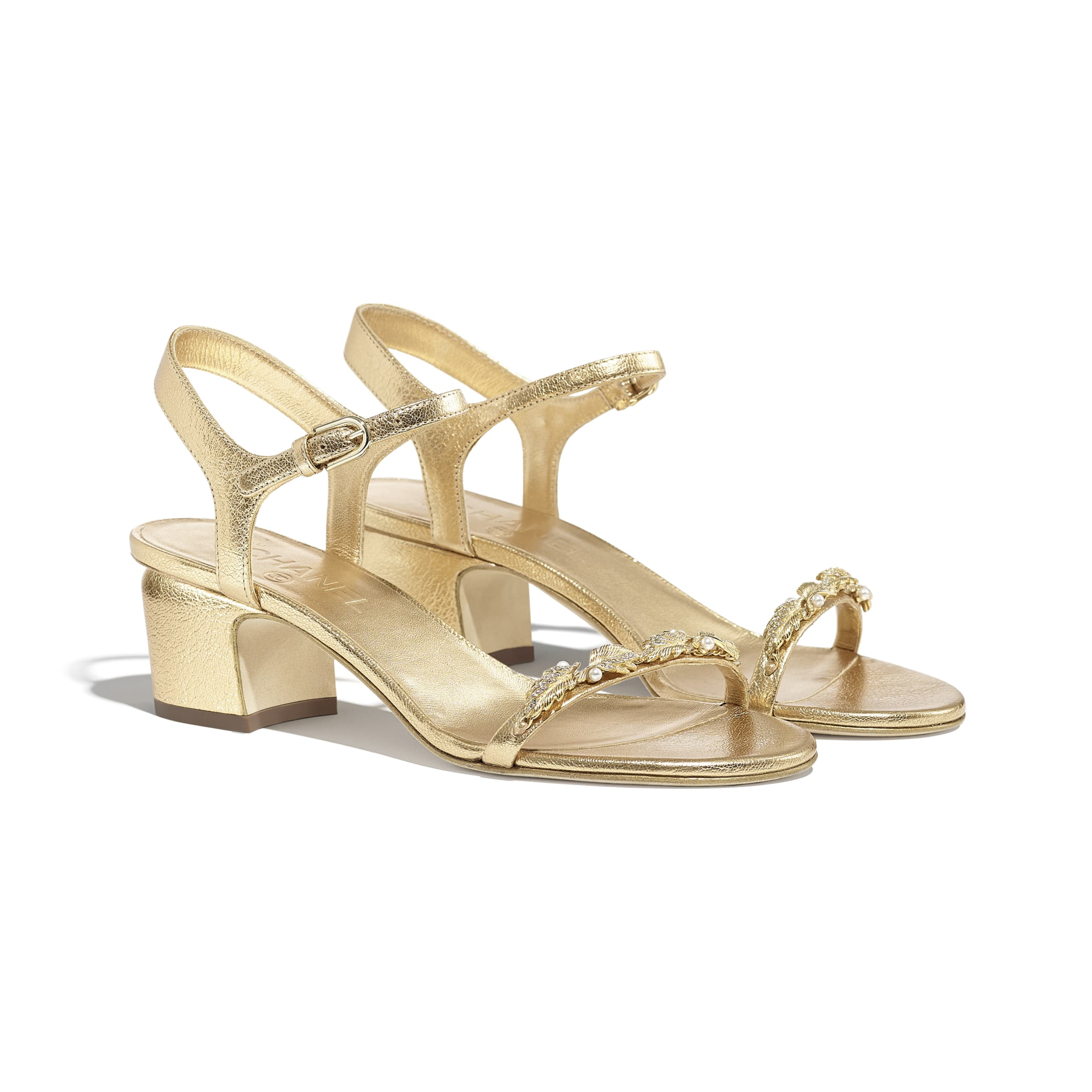 Sandals - Gold - Laminated Goatskin & Jewelry  - CHANEL - Alternative view - see standard sized version