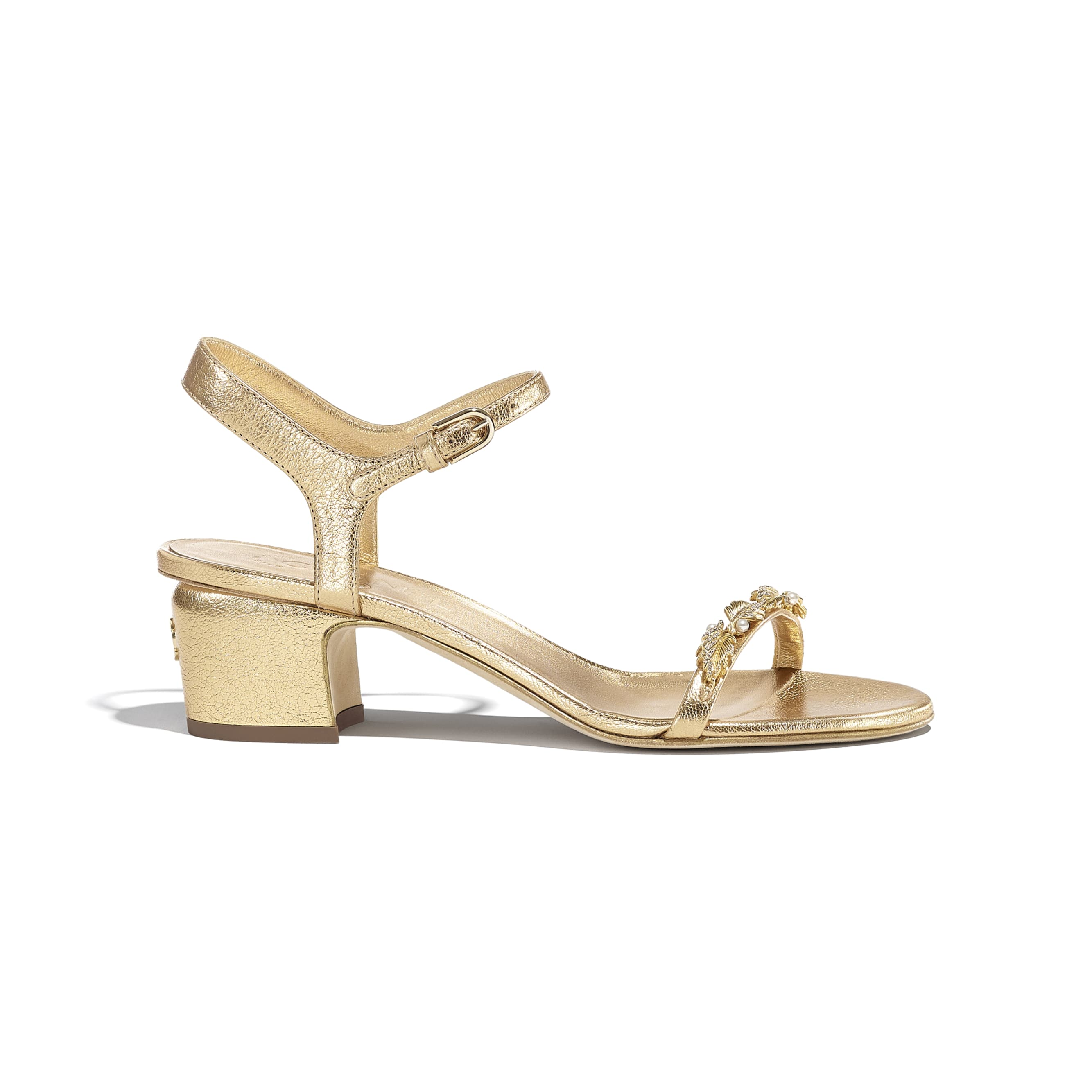 Sandals - Gold - Laminated Goatskin & Jewelry  - CHANEL - Default view - see standard sized version