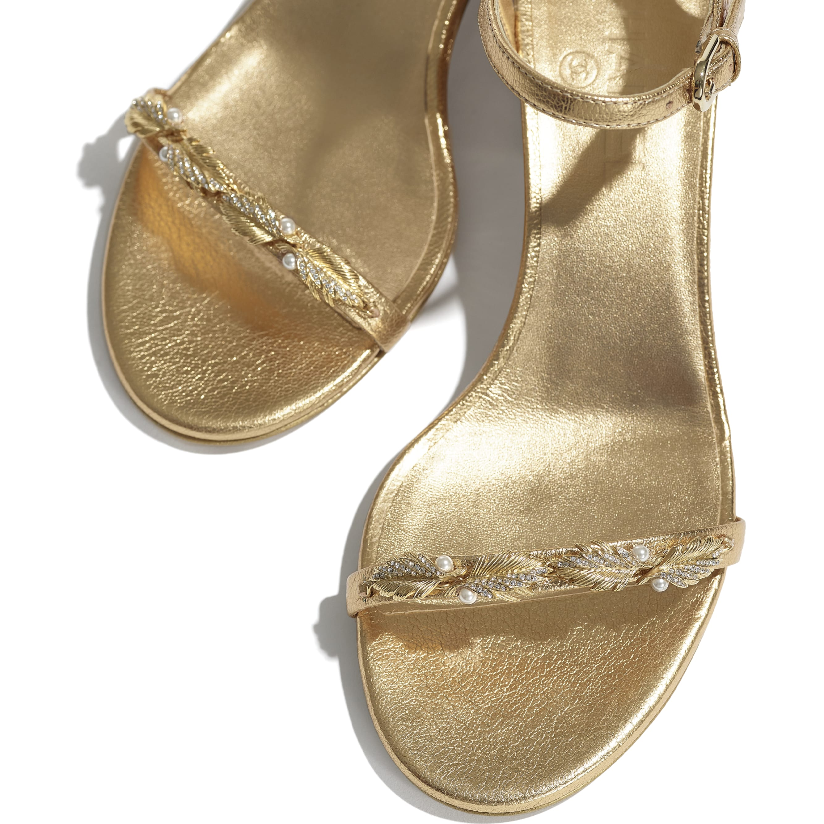 Sandals - Gold - Laminated Goatskin & Jewelry  - CHANEL - Extra view - see standard sized version