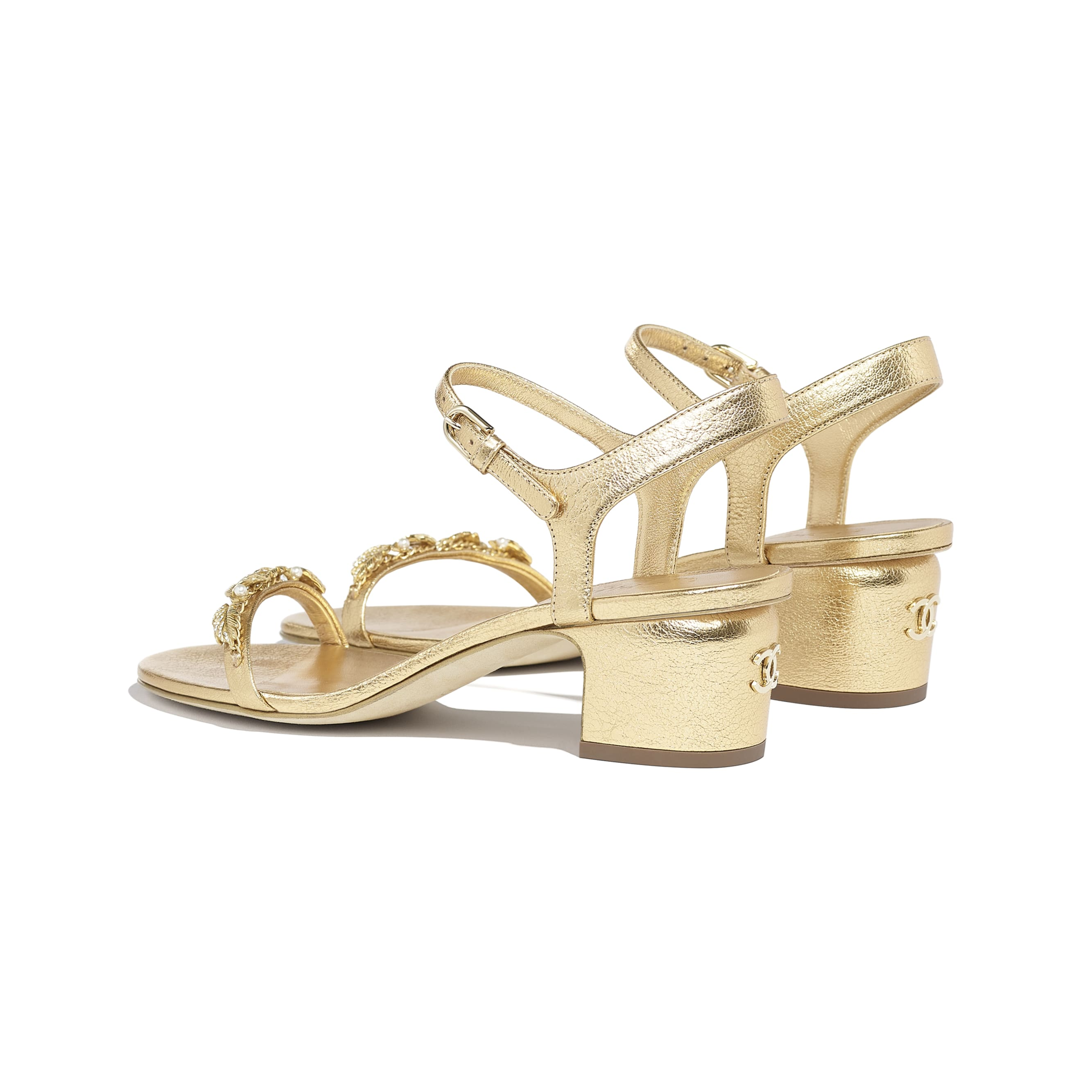 Sandals - Gold - Laminated Goatskin & Jewelry  - CHANEL - Other view - see standard sized version
