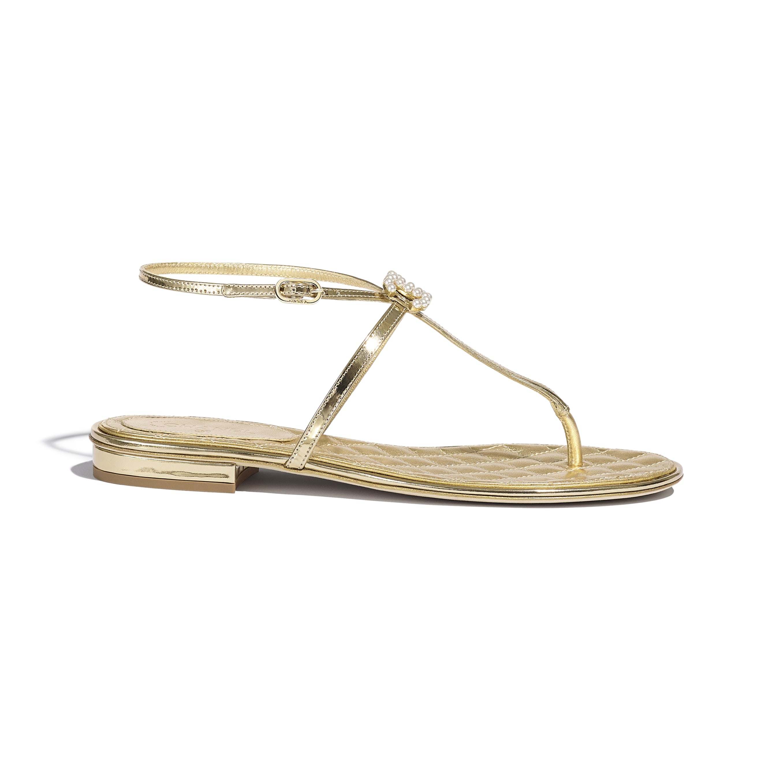 Sandals - Gold - Laminated Lambskin & Jewel - CHANEL - Default view - see standard sized version