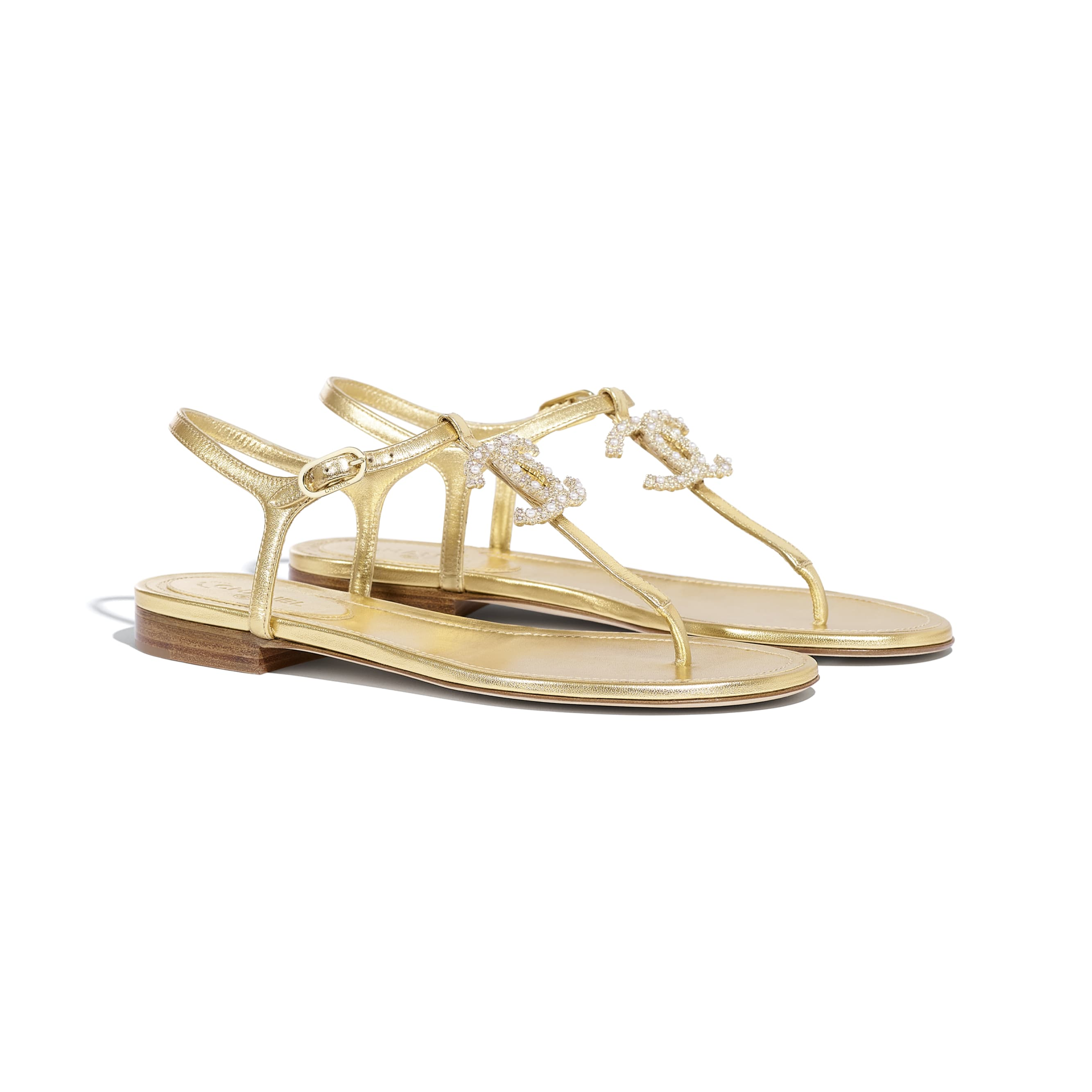 Sandals - Gold - Laminated Lambskin - CHANEL - Alternative view - see standard sized version