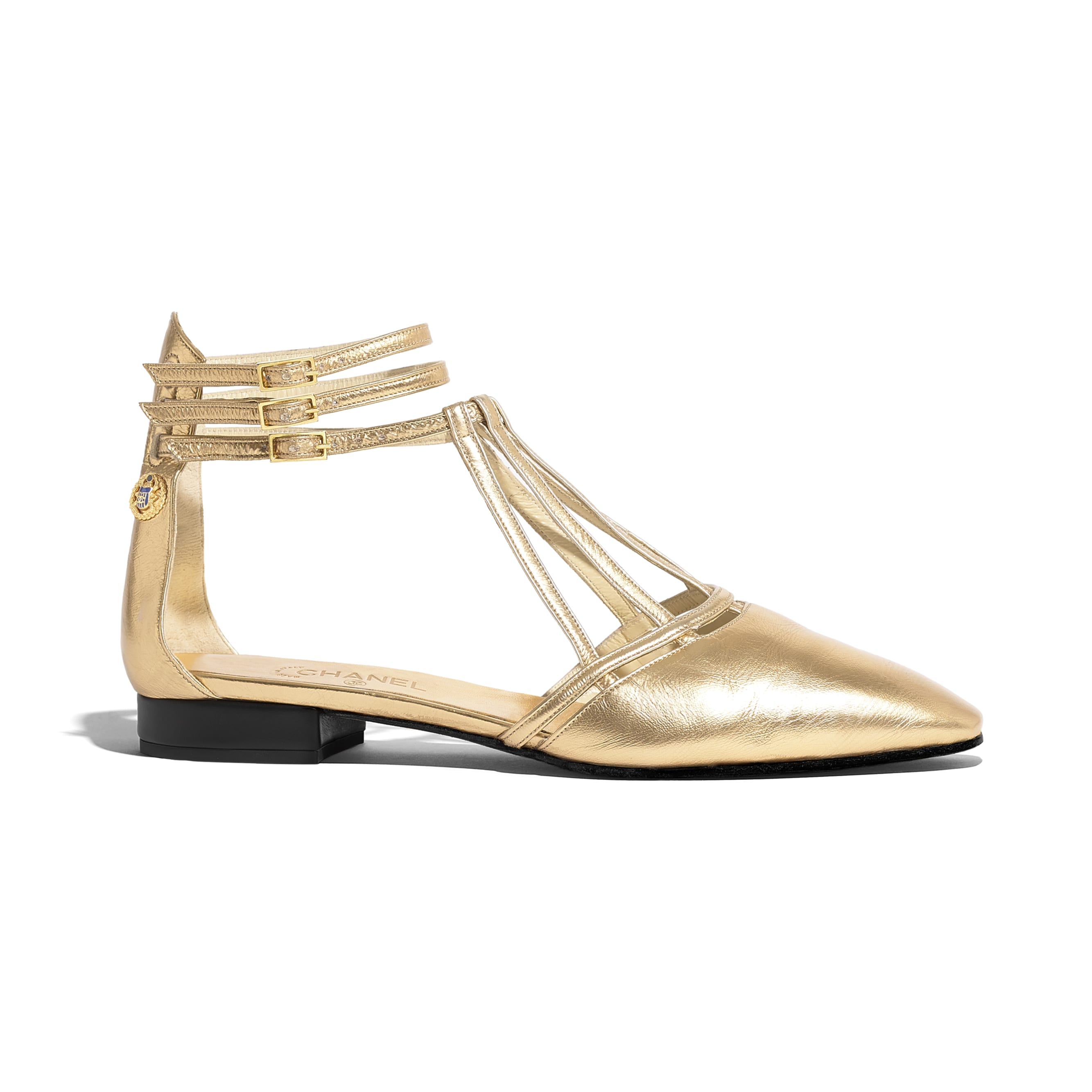 Sandals - Gold - Laminated Lambskin - Default view - see standard sized version