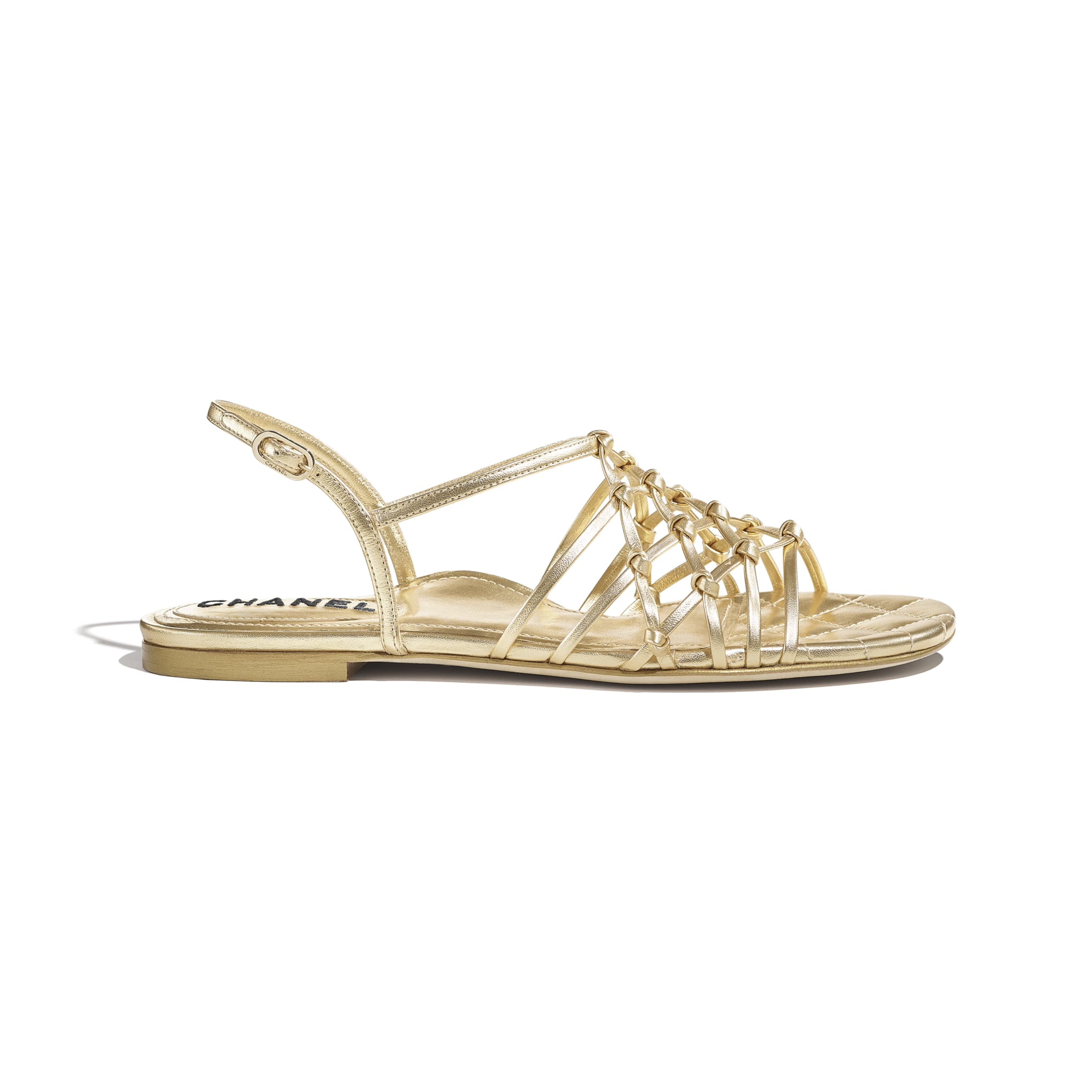 Sandals - Gold - Laminated Lambskin - CHANEL - Default view - see standard sized version