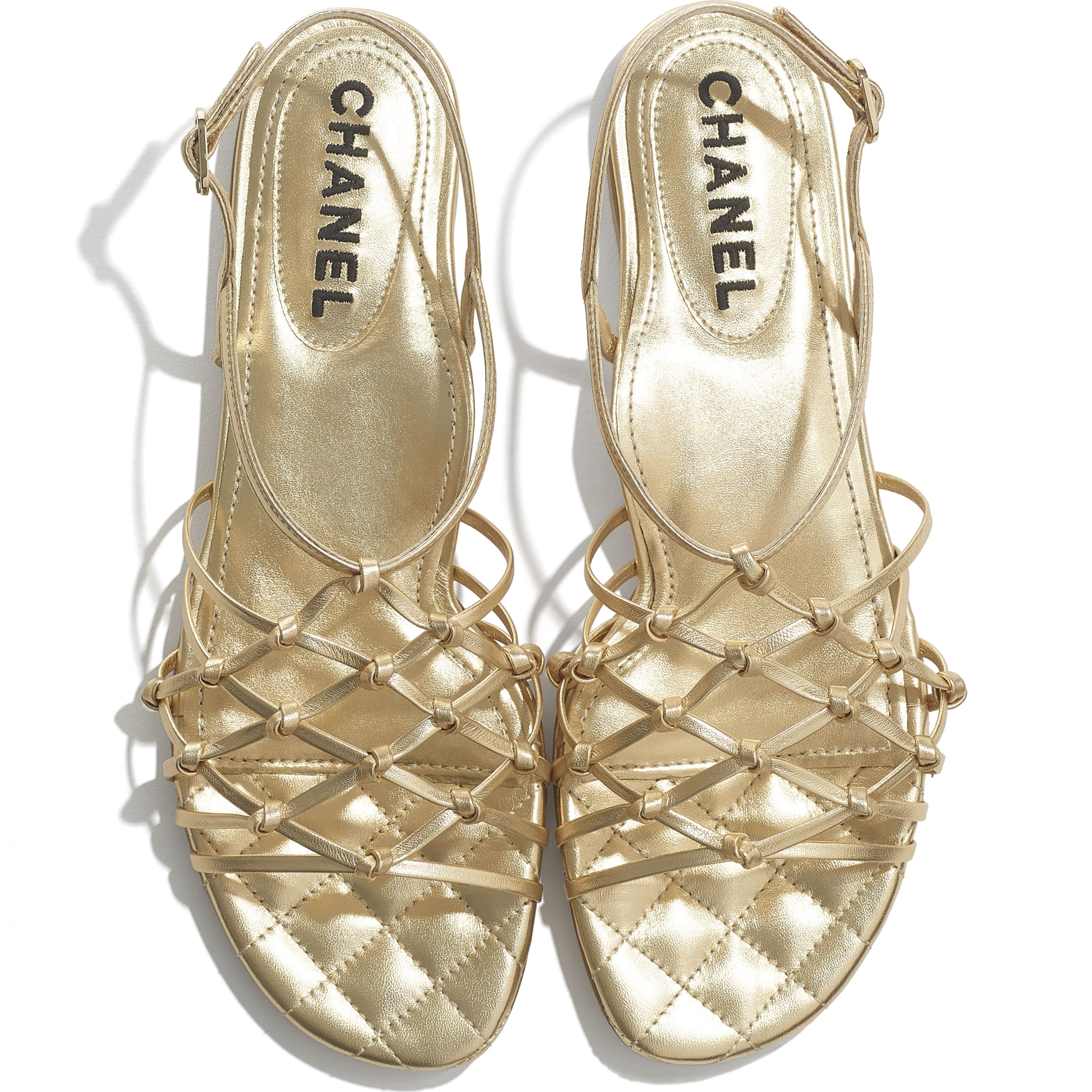 Sandals - Gold - Laminated Lambskin - CHANEL - Extra view - see standard sized version