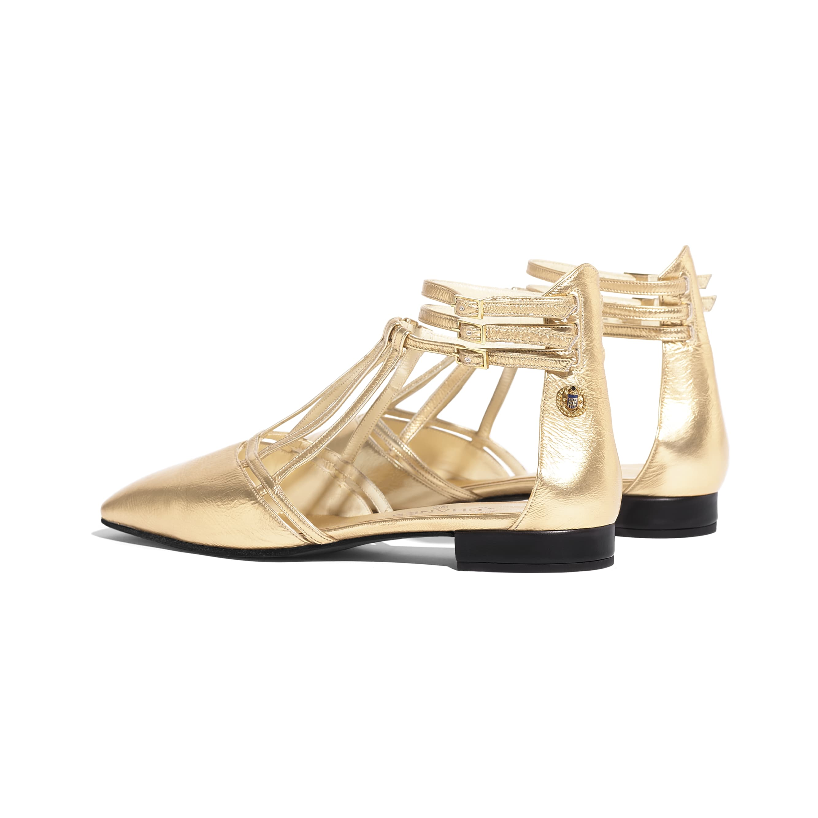Sandals - Gold - Laminated Lambskin - Other view - see standard sized version