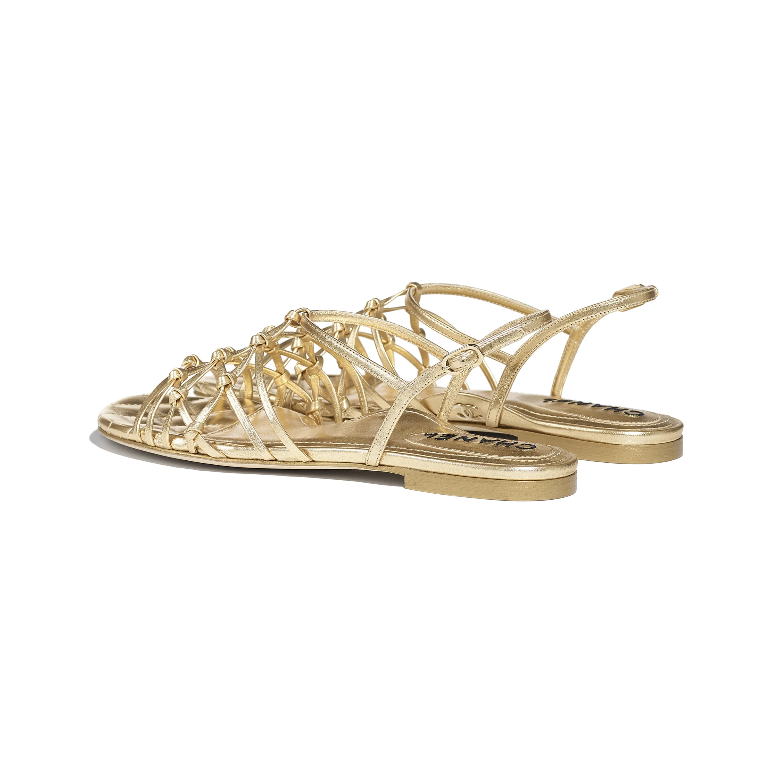 Sandals - Gold - Laminated Lambskin - CHANEL - Other view - see standard sized version