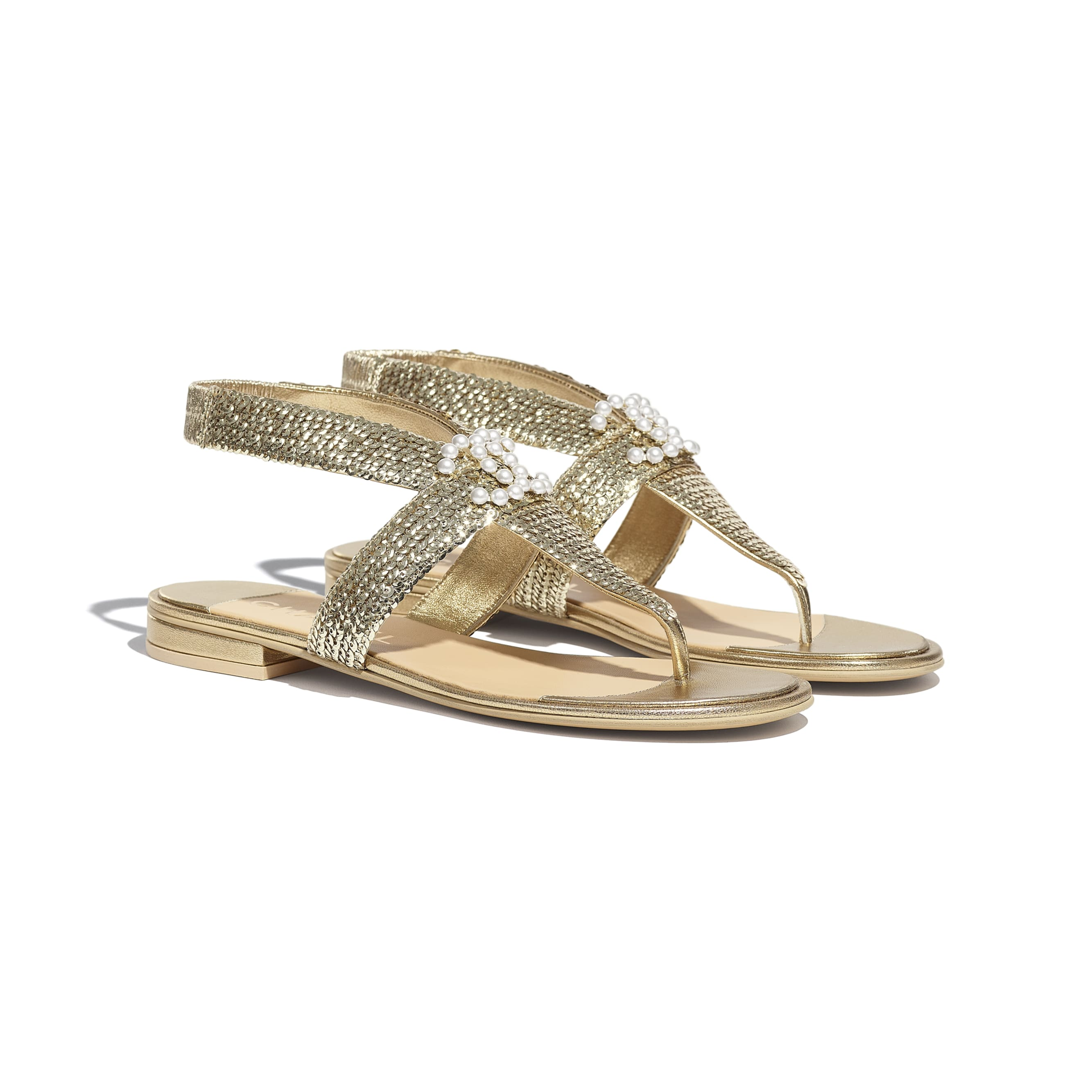 Sandals - Gold - Laminated Lambskin & Sequins - CHANEL - Alternative view - see standard sized version