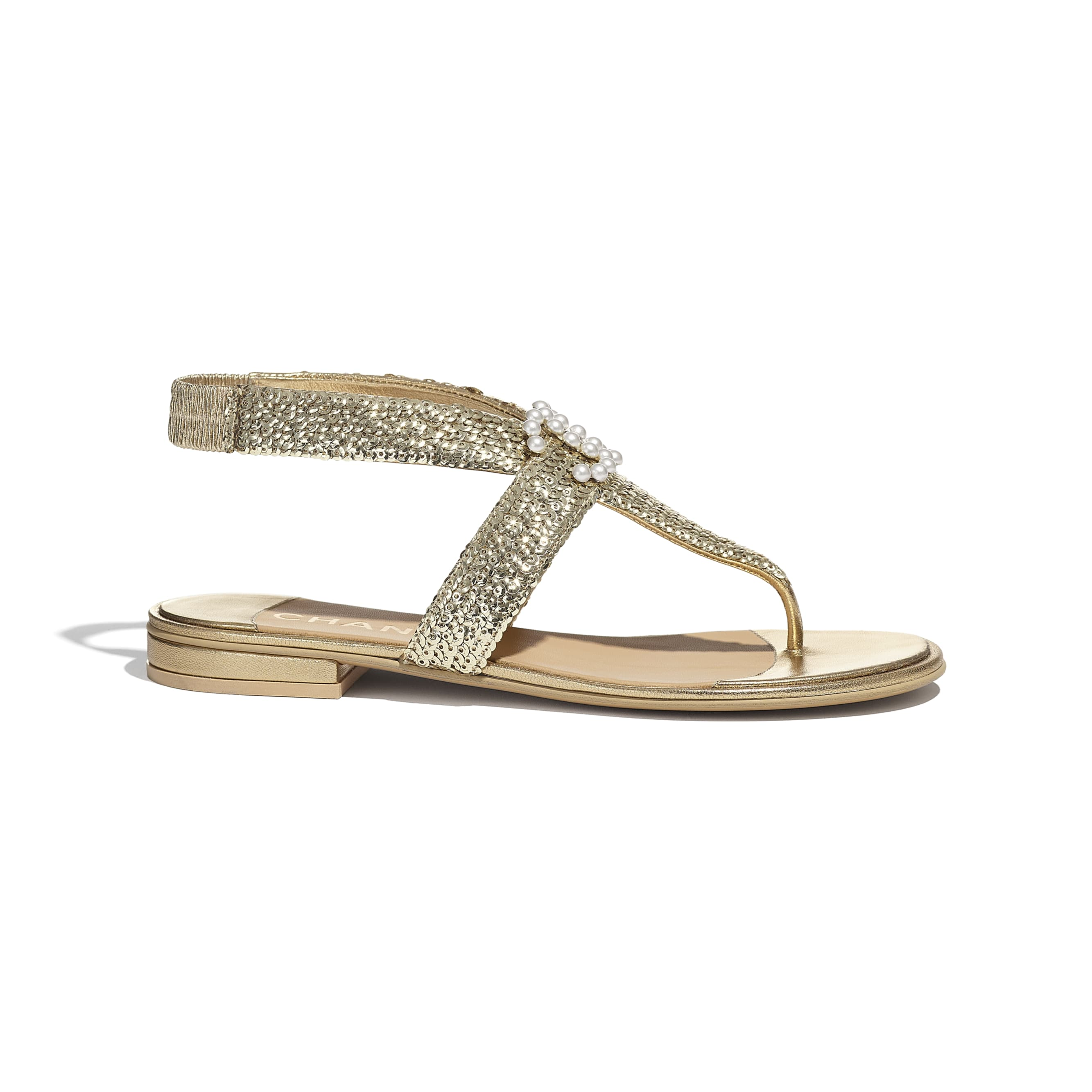 Sandals - Gold - Laminated Lambskin & Sequins - CHANEL - Default view - see standard sized version