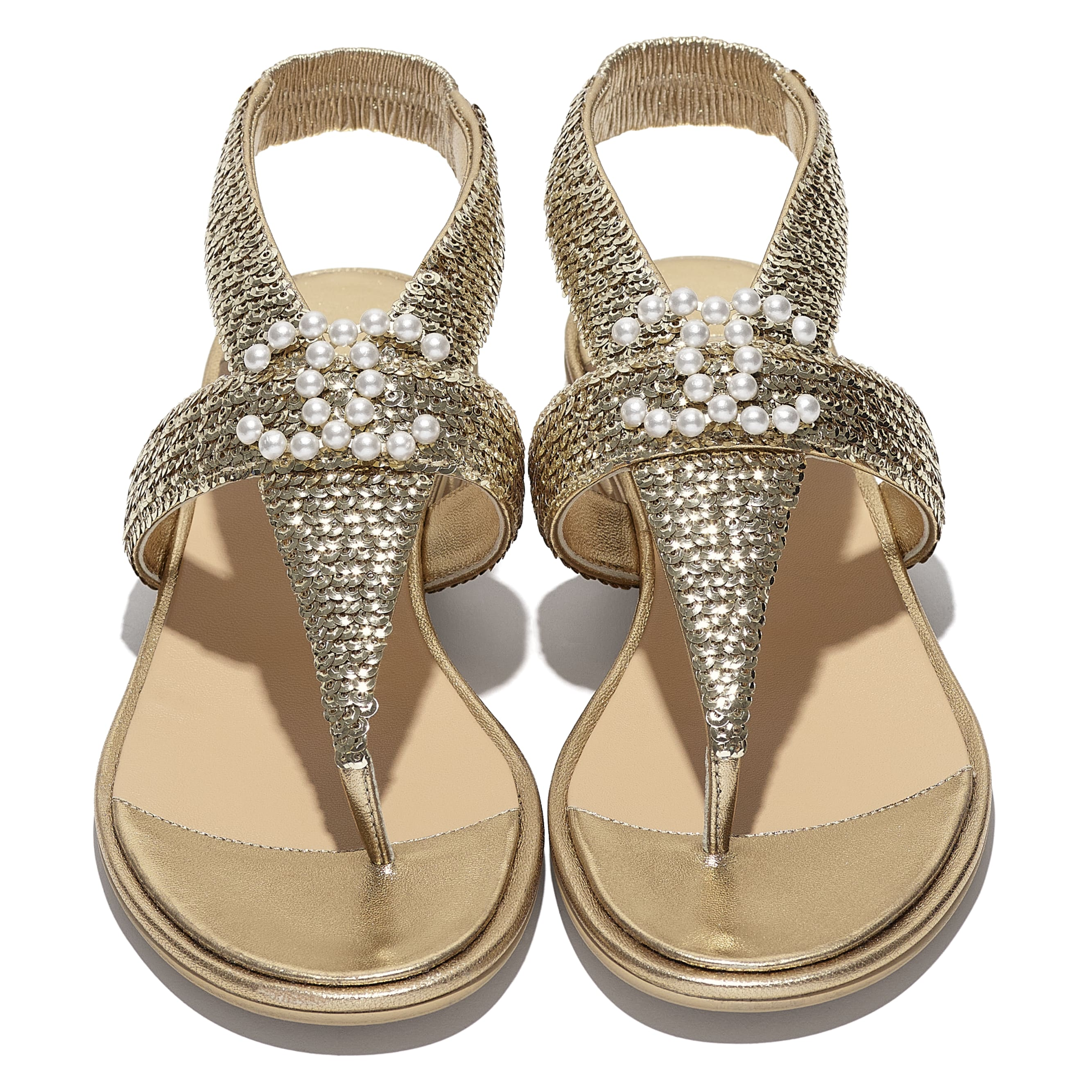 Sandals - Gold - Laminated Lambskin & Sequins - CHANEL - Extra view - see standard sized version