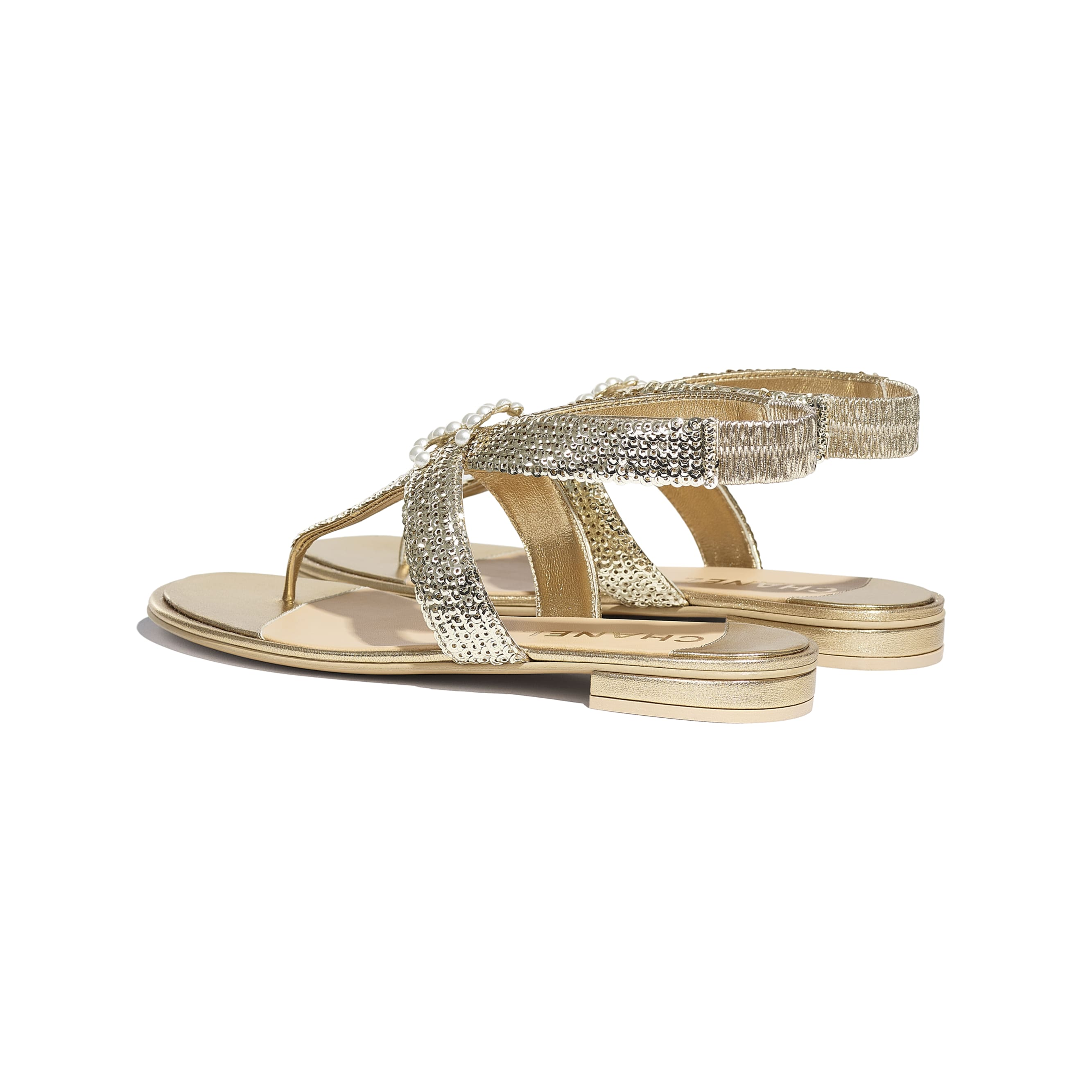 Sandals - Gold - Laminated Lambskin & Sequins - CHANEL - Other view - see standard sized version