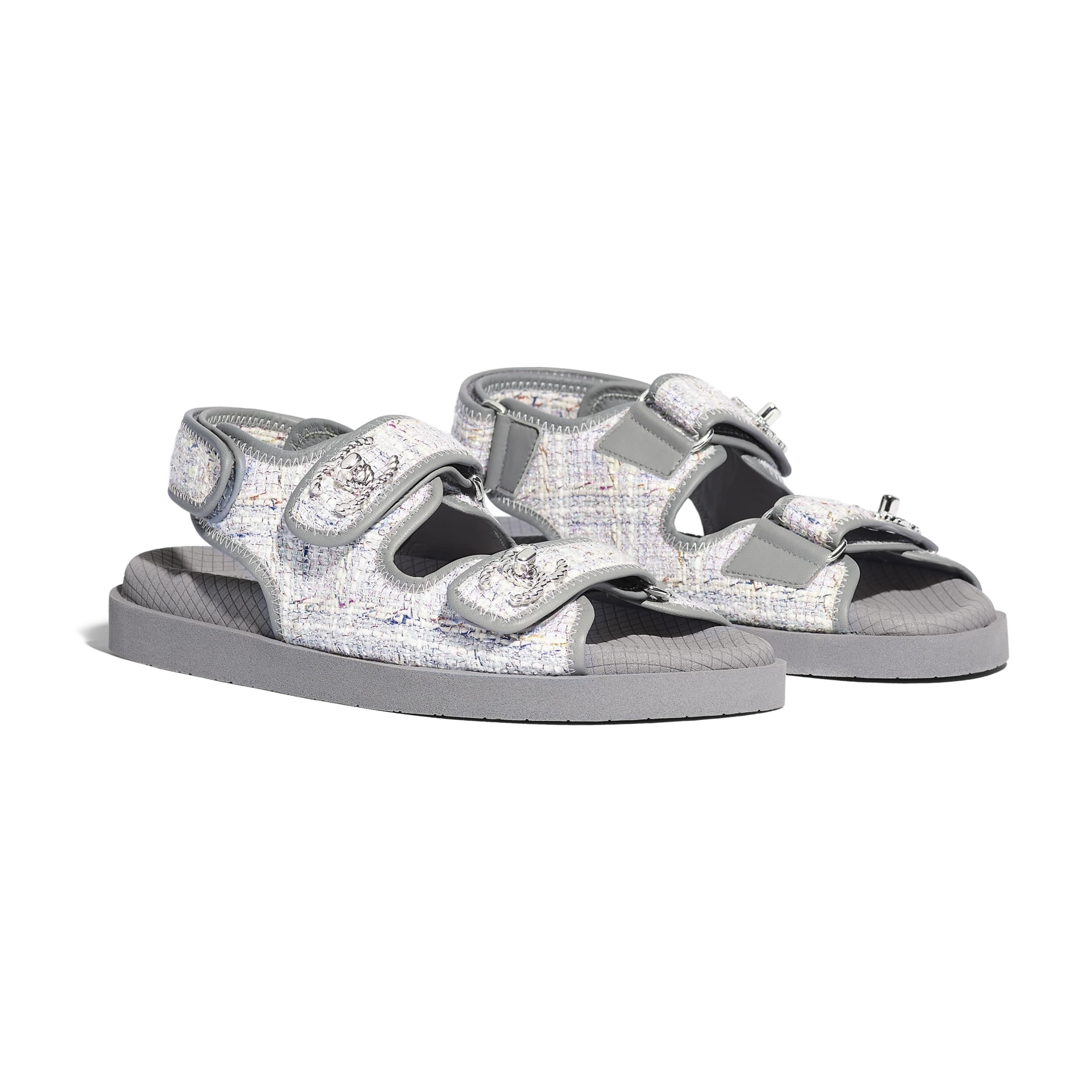 Sandals - Gray, Ecru & Blue - Tweed & Lambskin - Alternative view - see standard sized version