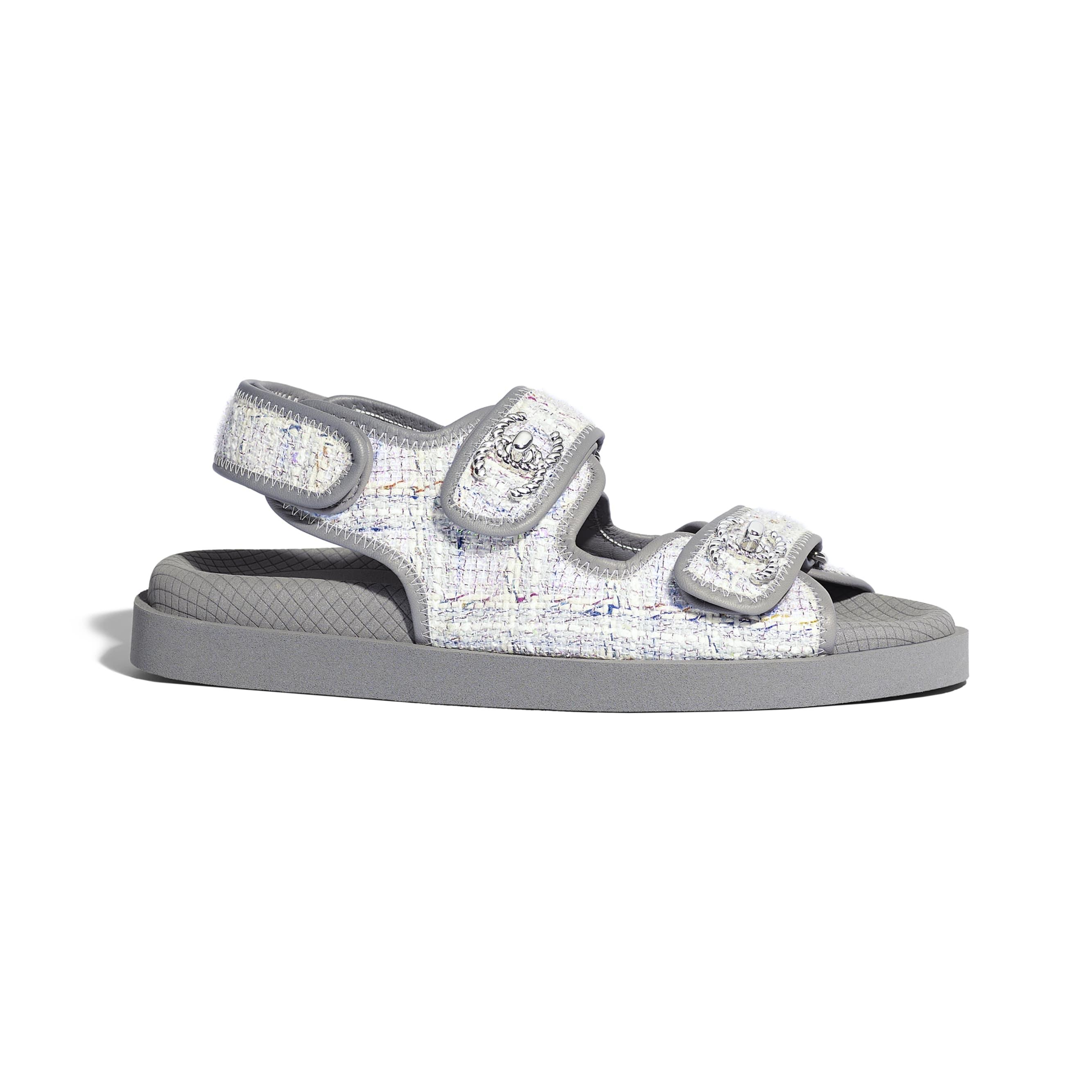 Sandals - Gray, Ecru & Blue - Tweed & Lambskin - Default view - see standard sized version