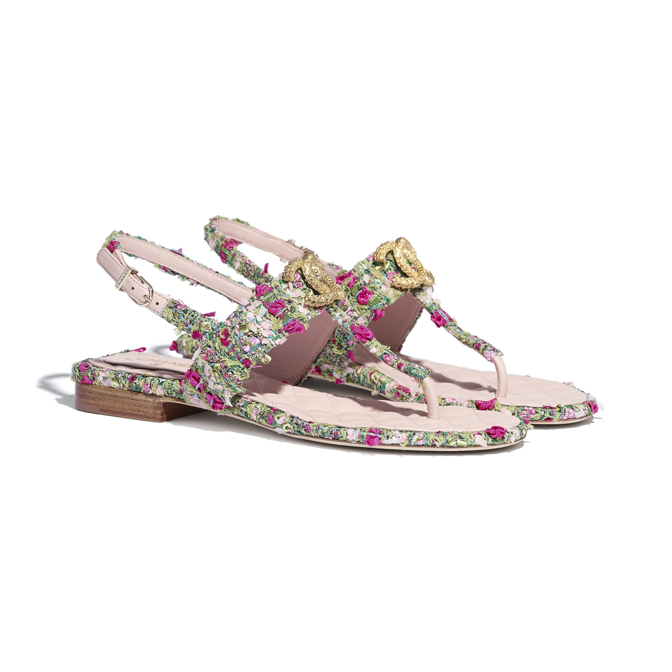 Sandals - Green, Pink & White - Tweed - CHANEL - Alternative view - see standard sized version