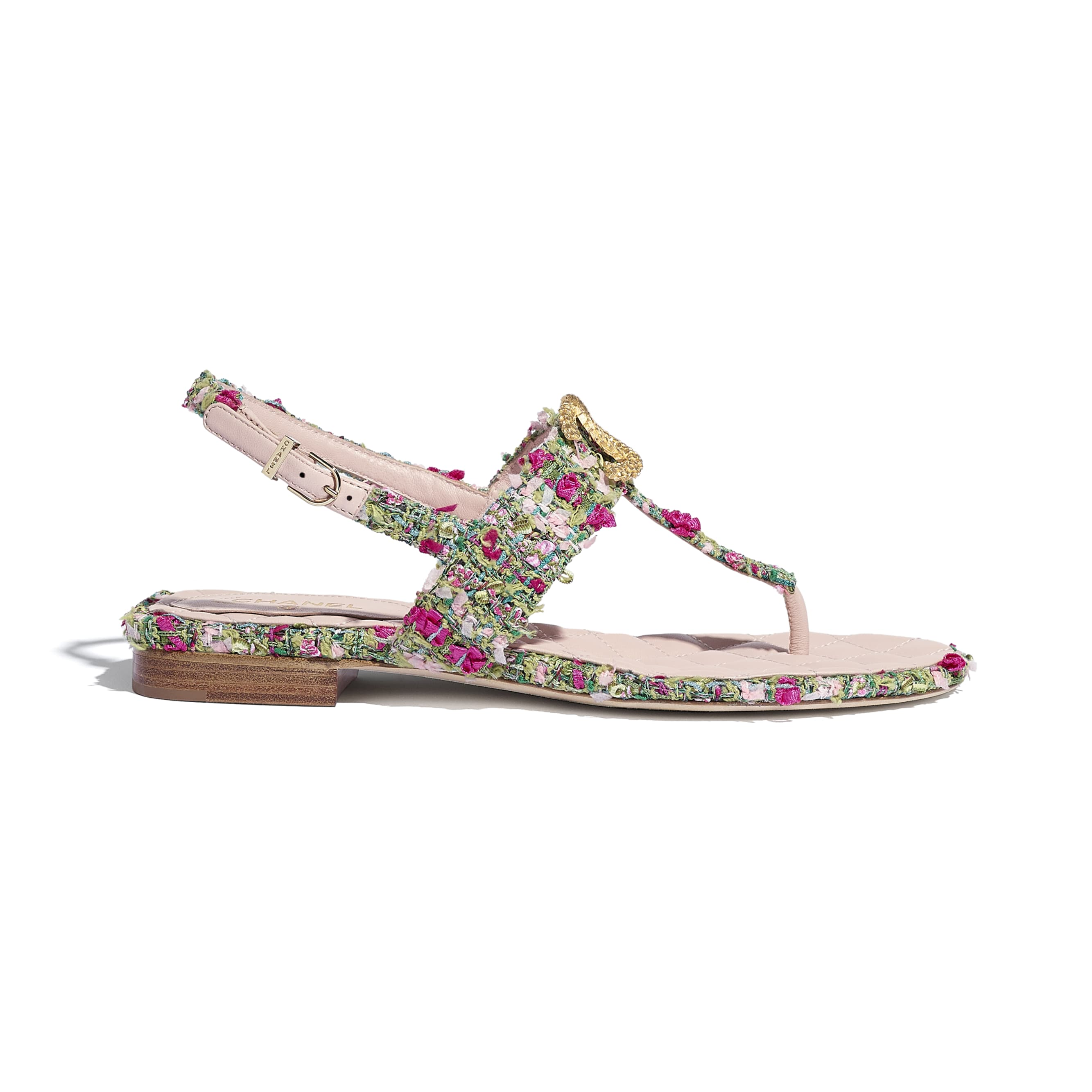 Sandals - Green, Pink & White - Tweed - CHANEL - Default view - see standard sized version