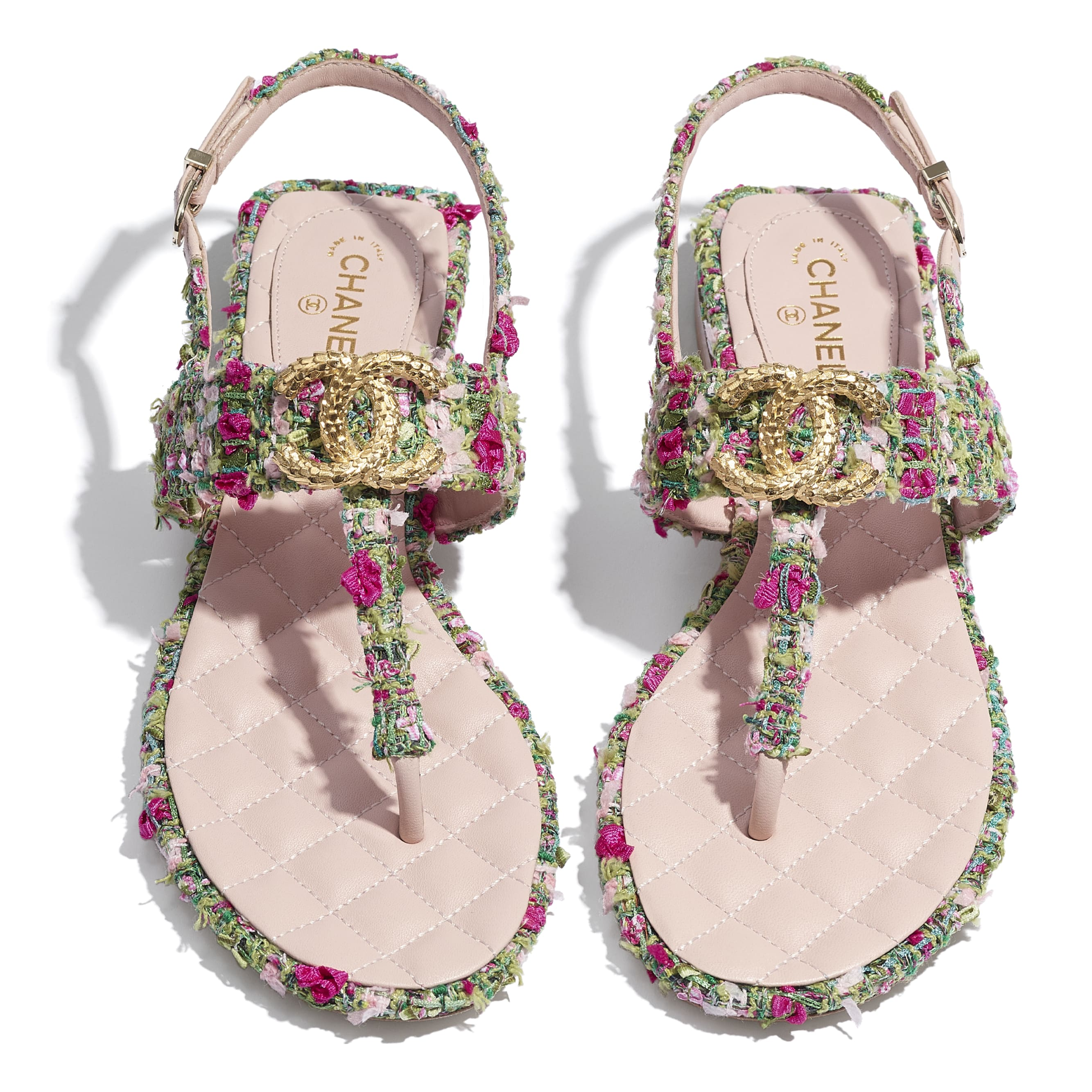 Sandals - Green, Pink & White - Tweed - CHANEL - Extra view - see standard sized version