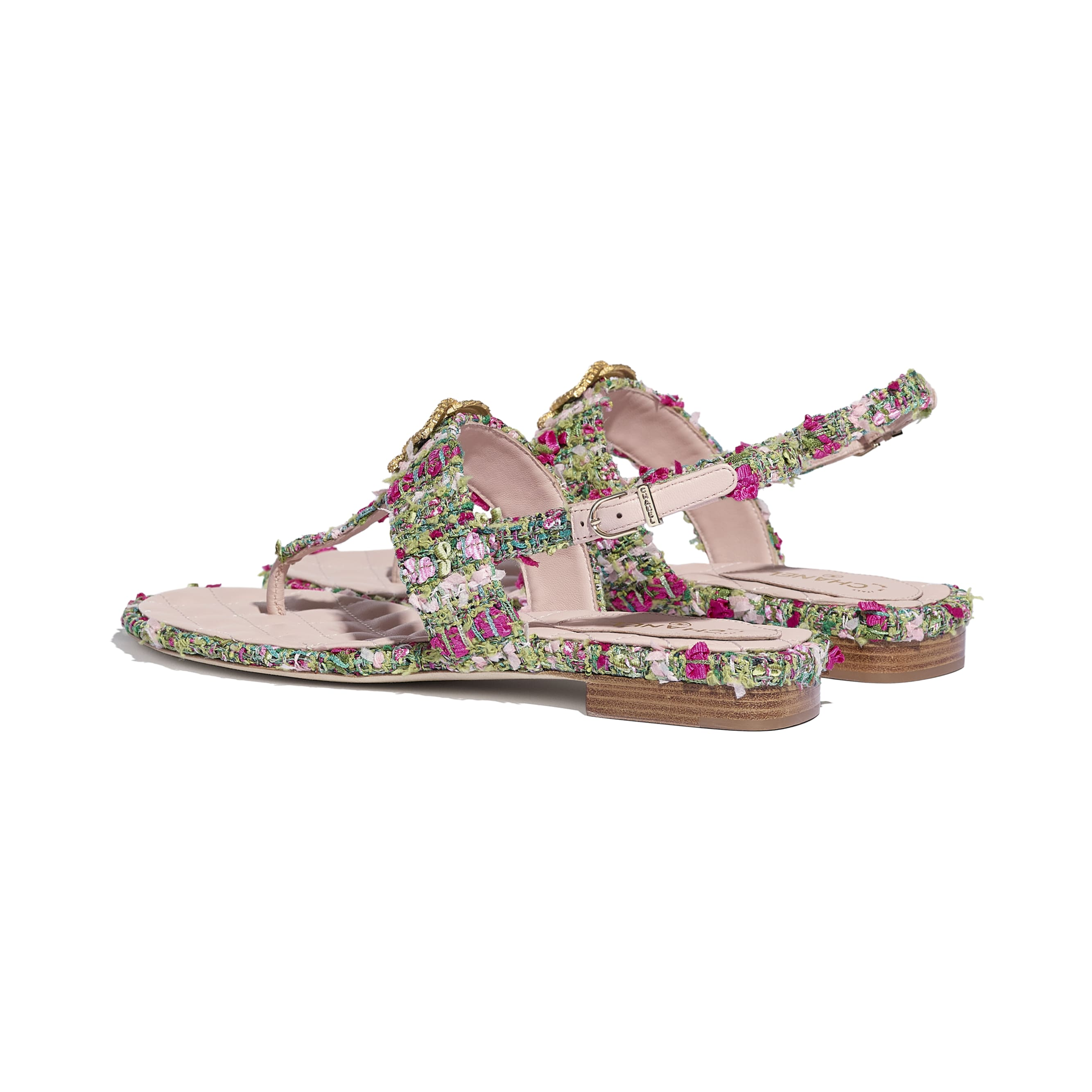 Sandals - Green, Pink & White - Tweed - CHANEL - Other view - see standard sized version