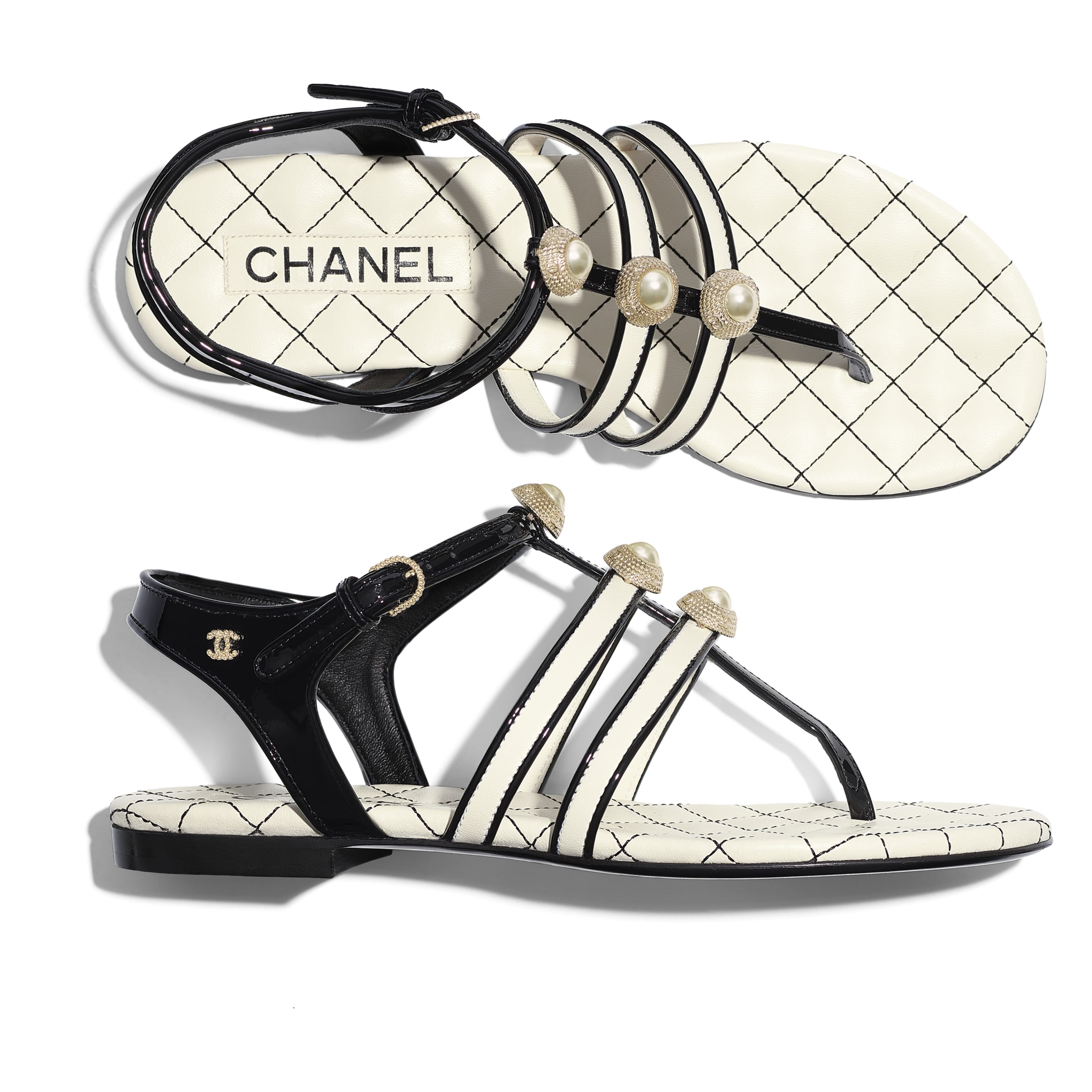 Sandals - Ivory & Black - Lambskin, Patent Calfskin & Fantasy Pearls - Extra view - see standard sized version