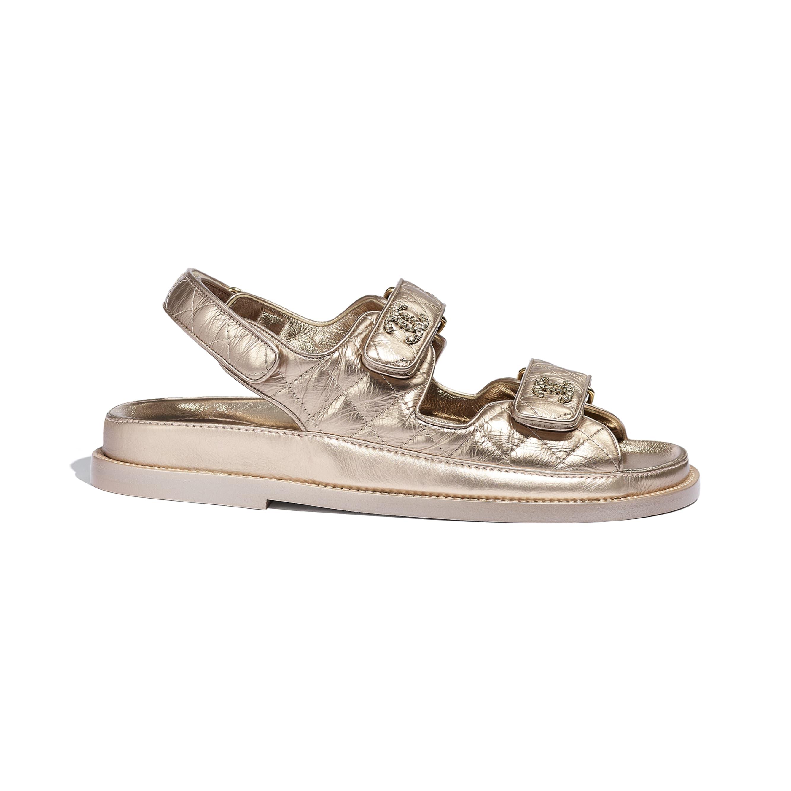 Sandals - Light Bronze - Iridescent Lambskin - CHANEL - Default view - see standard sized version