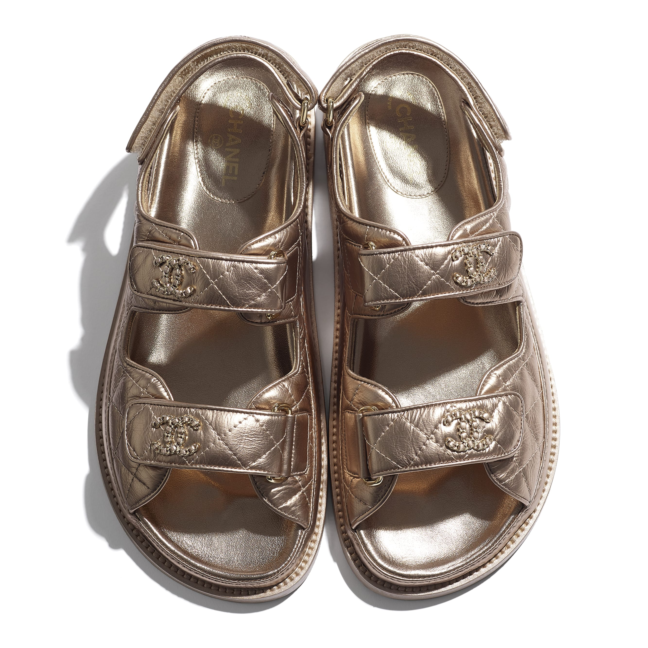 Sandals - Light Bronze - Iridescent Lambskin - CHANEL - Extra view - see standard sized version