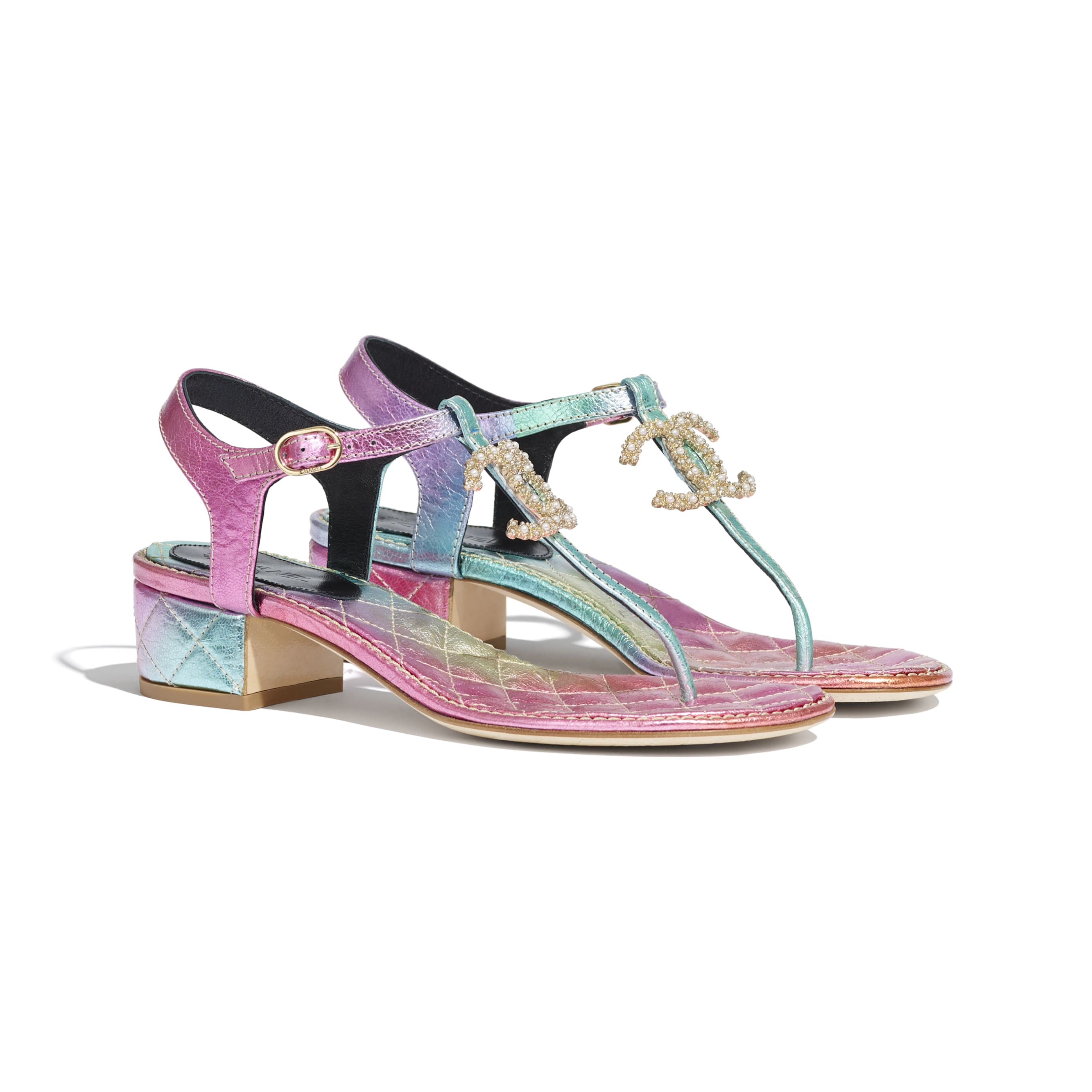 Sandals - Multicolour - Laminated Calfskin - CHANEL - Alternative view - see standard sized version
